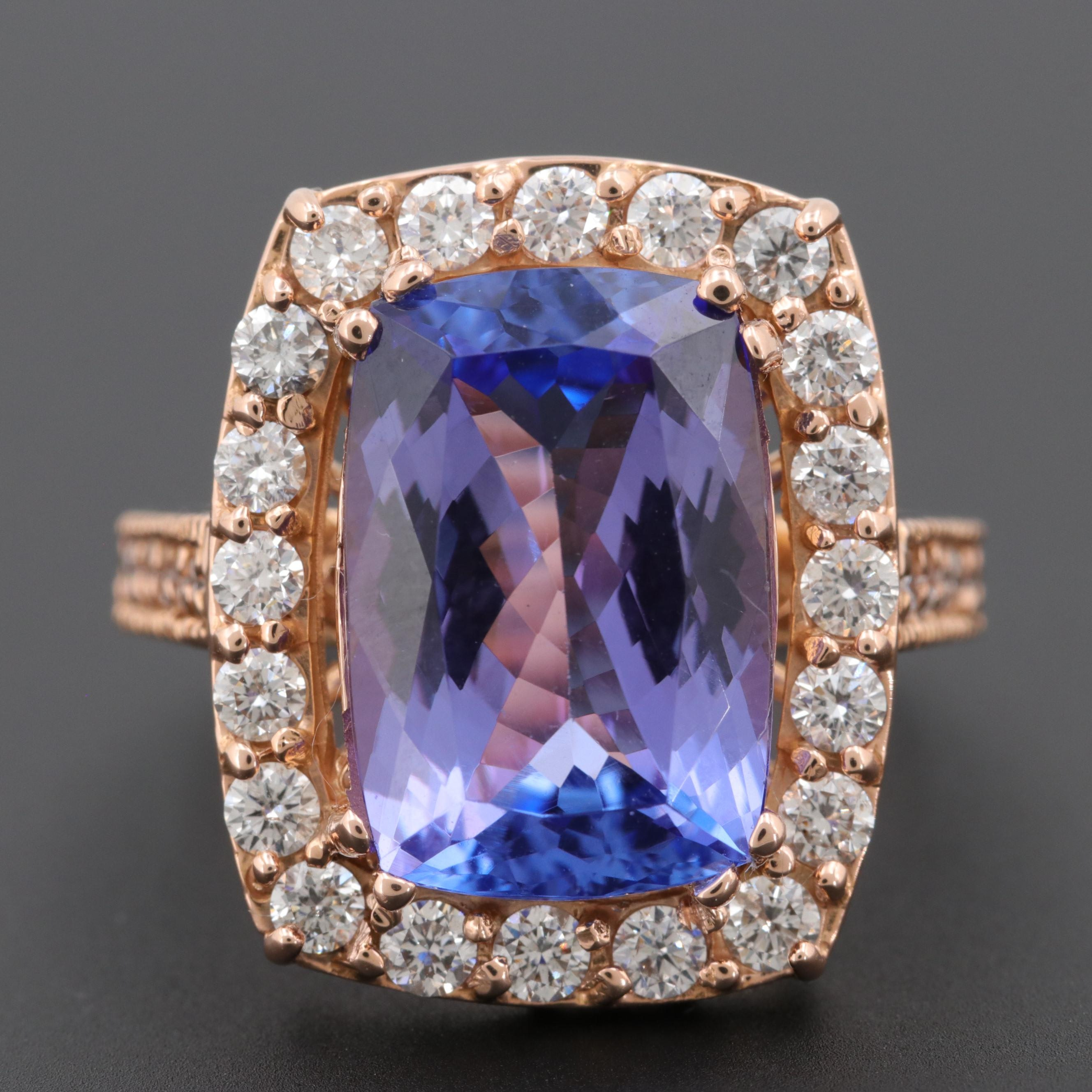18K Rose Gold Tanzanite and Diamond Halo Ring
