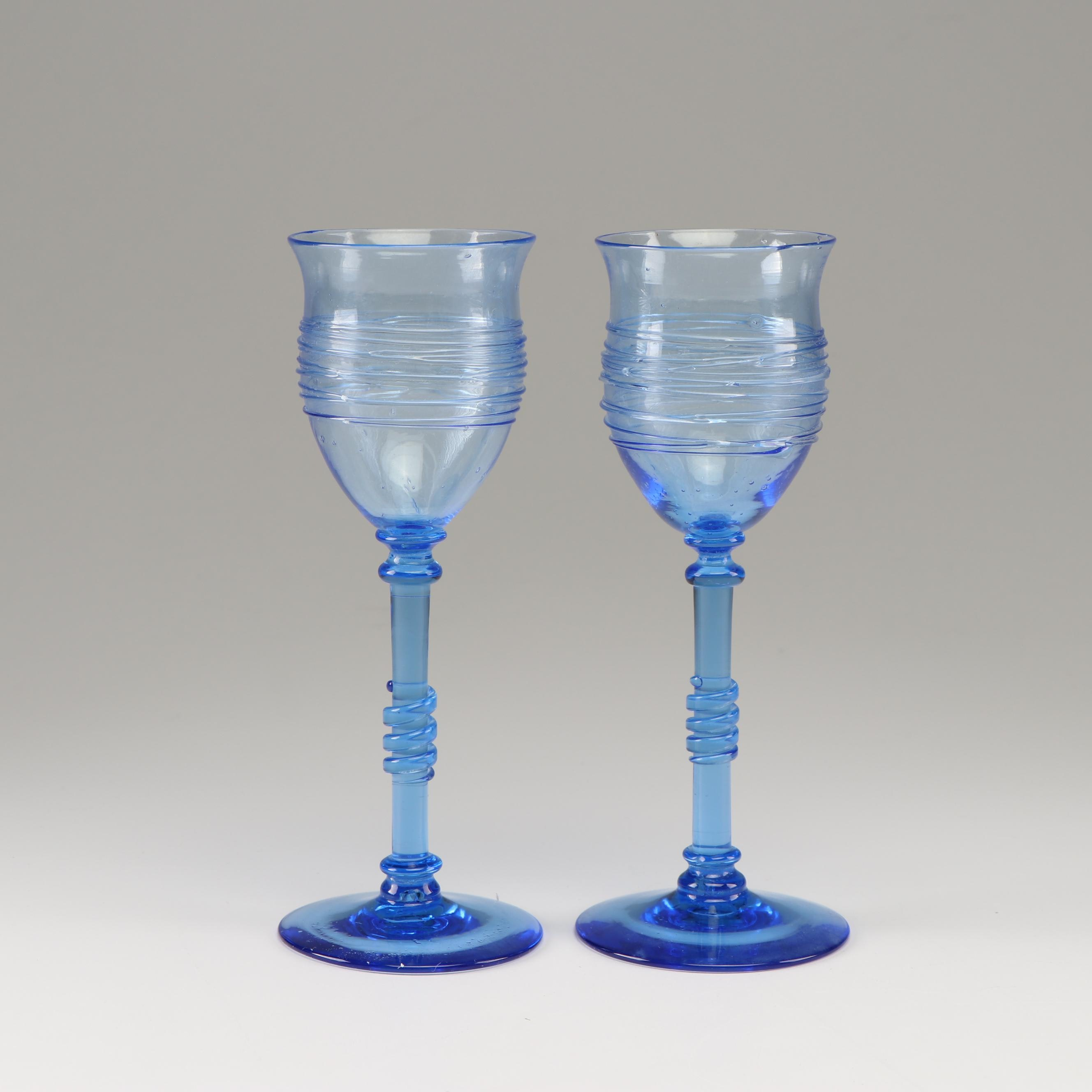 Frederick Carder Steuben French Blue Reeded Stemware