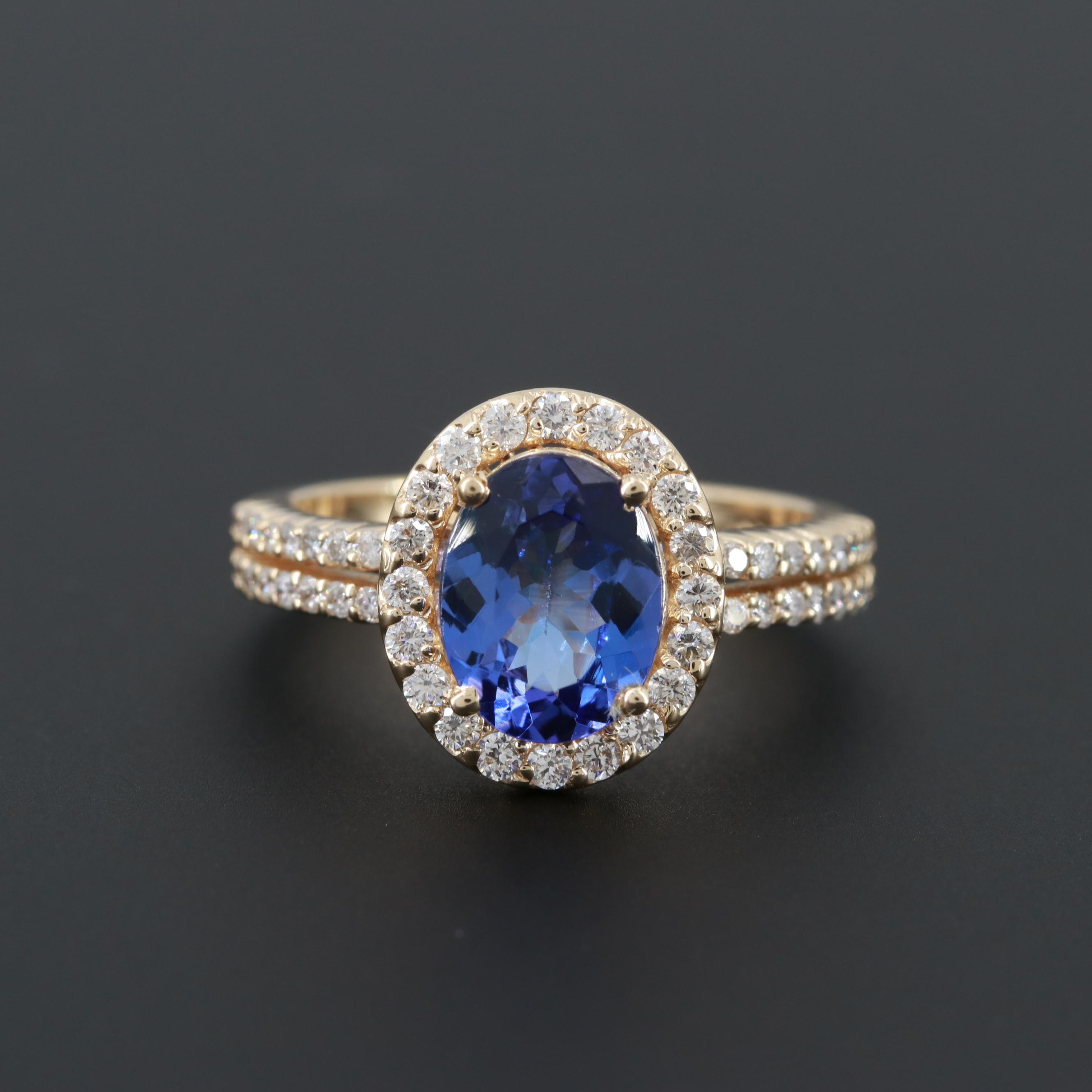 14K Yellow Gold 1.88 CT Tanzanite and Diamond Halo Ring