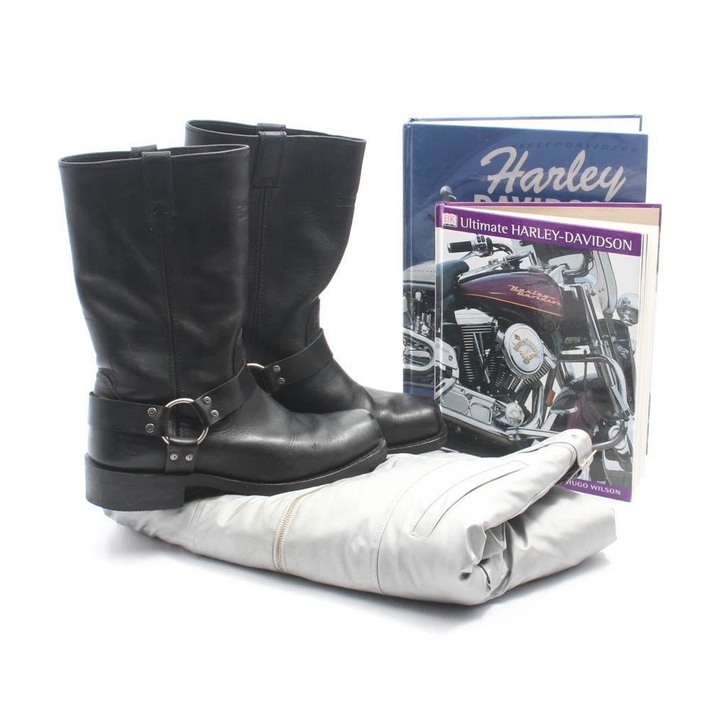 Harley-Davidson Black Leather Boots, Anniversary Jacket, and Books