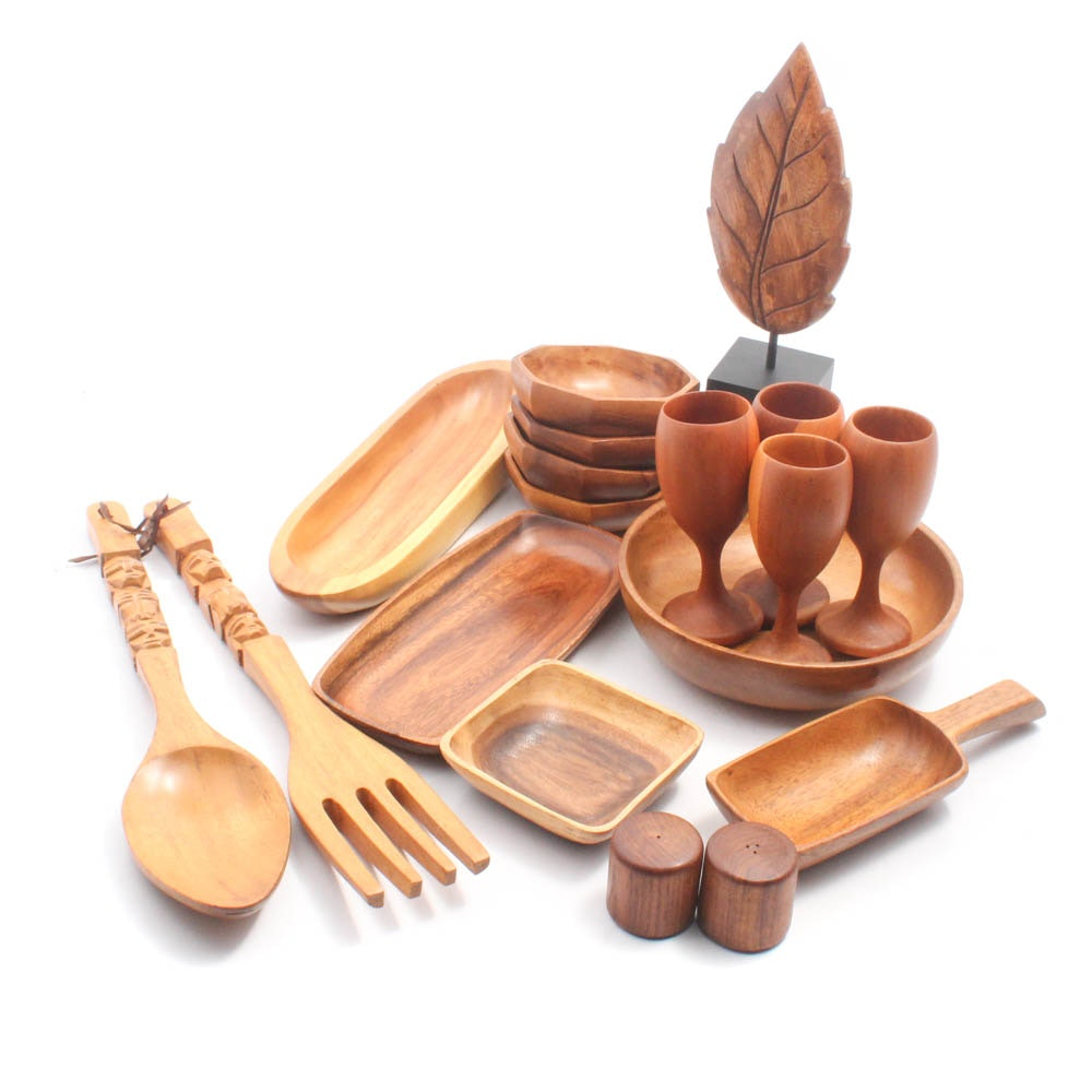 Assorted Wood Decor and Tableware