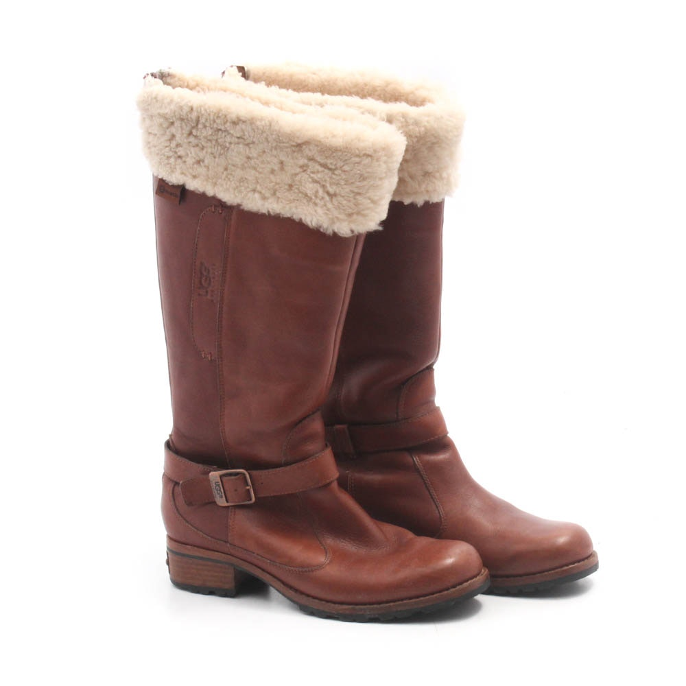 UGG Australia Chestnut Leather Shearling Boots