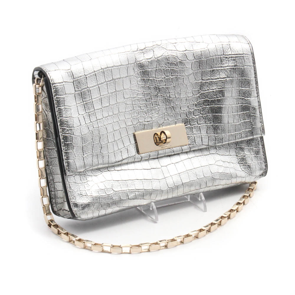 Kate Spade New York Metallic Silver Embossed Leather Handbag with Chain Strap