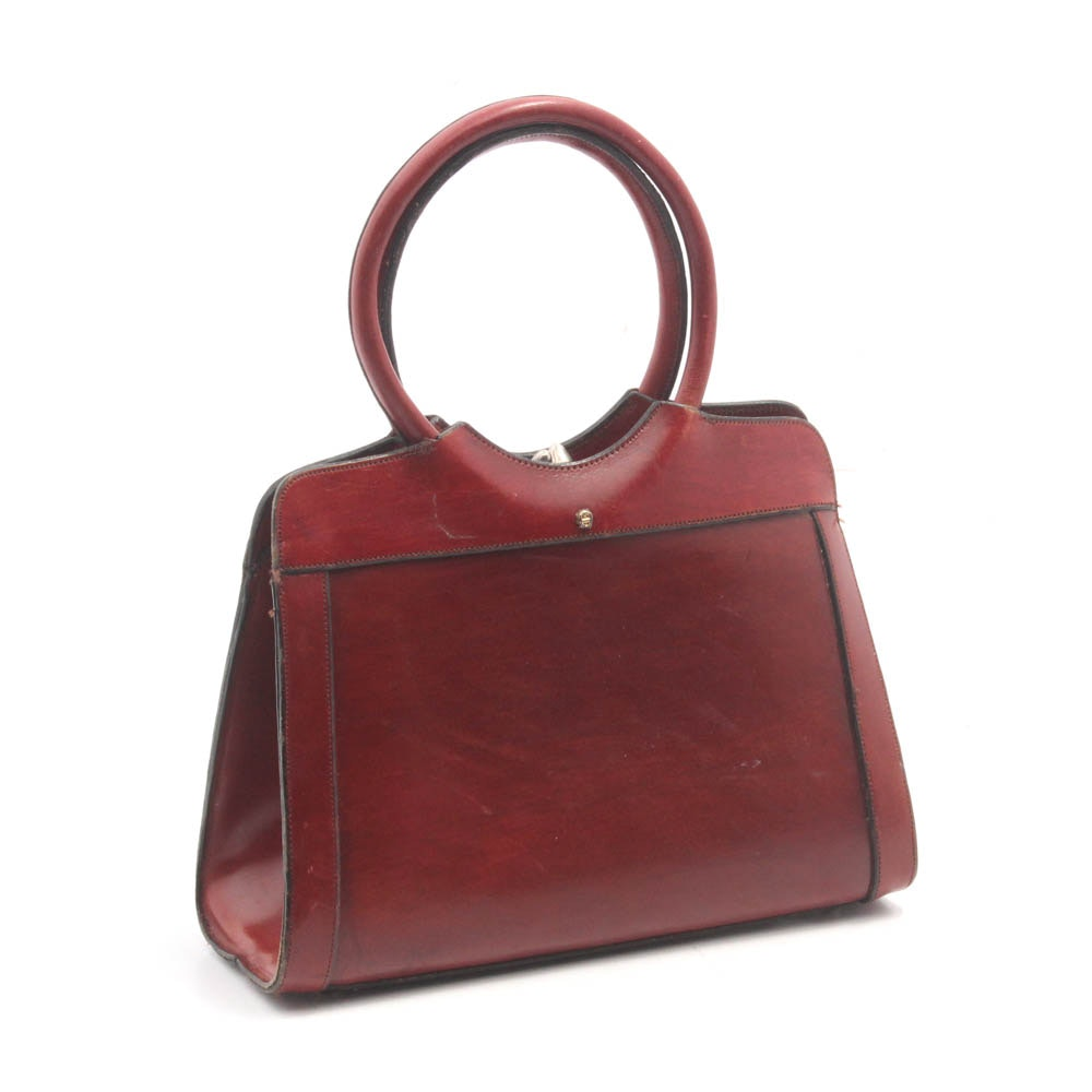 Etienne Aigner Thick-Gauge Oxblood Leather Frame Bag, Vintage