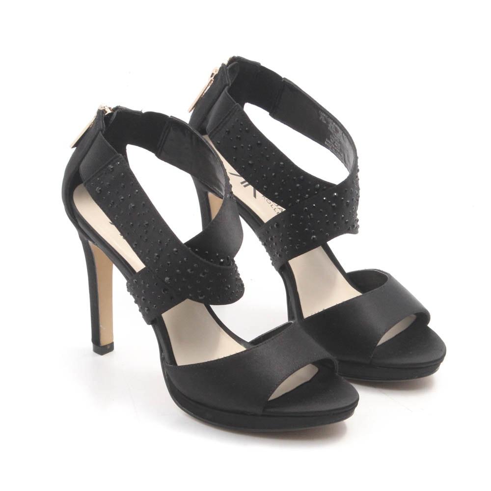 Kardashian Black Rhinestone Satin High Heels
