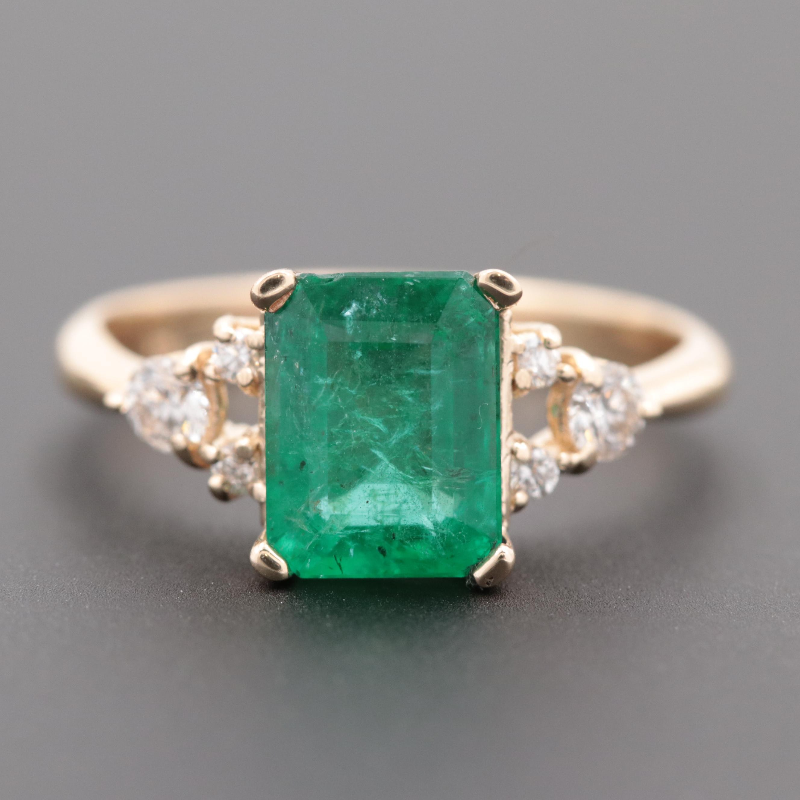 14K Yellow Gold 1.87 CT Emerald and Diamond Ring