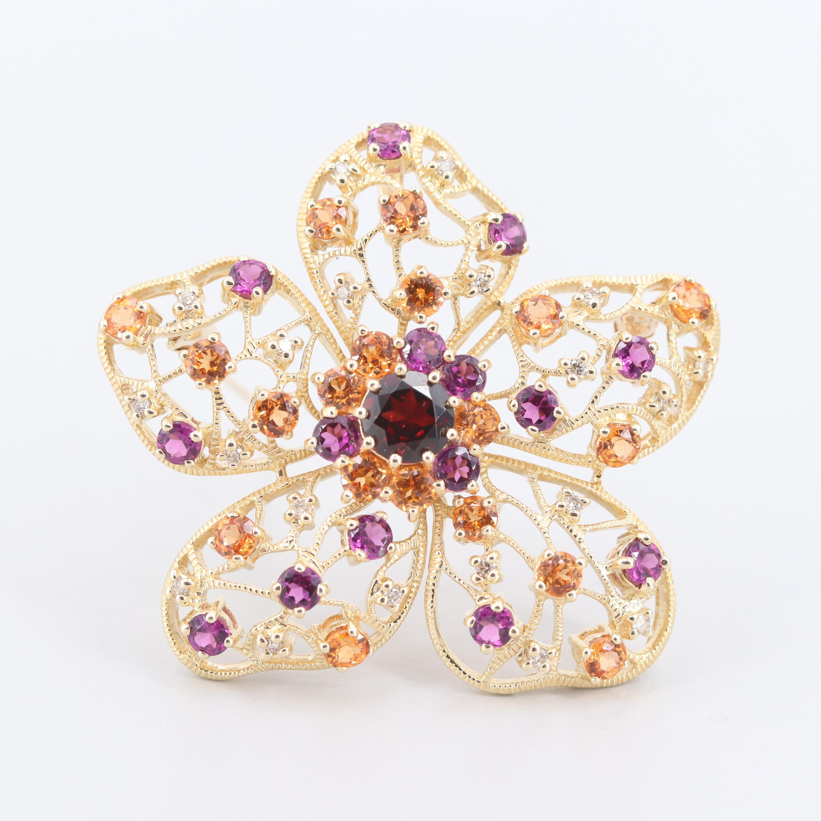 14K Yellow Gold Pyrope, Spessartine, Rhodolite and Diamond Converter Brooch