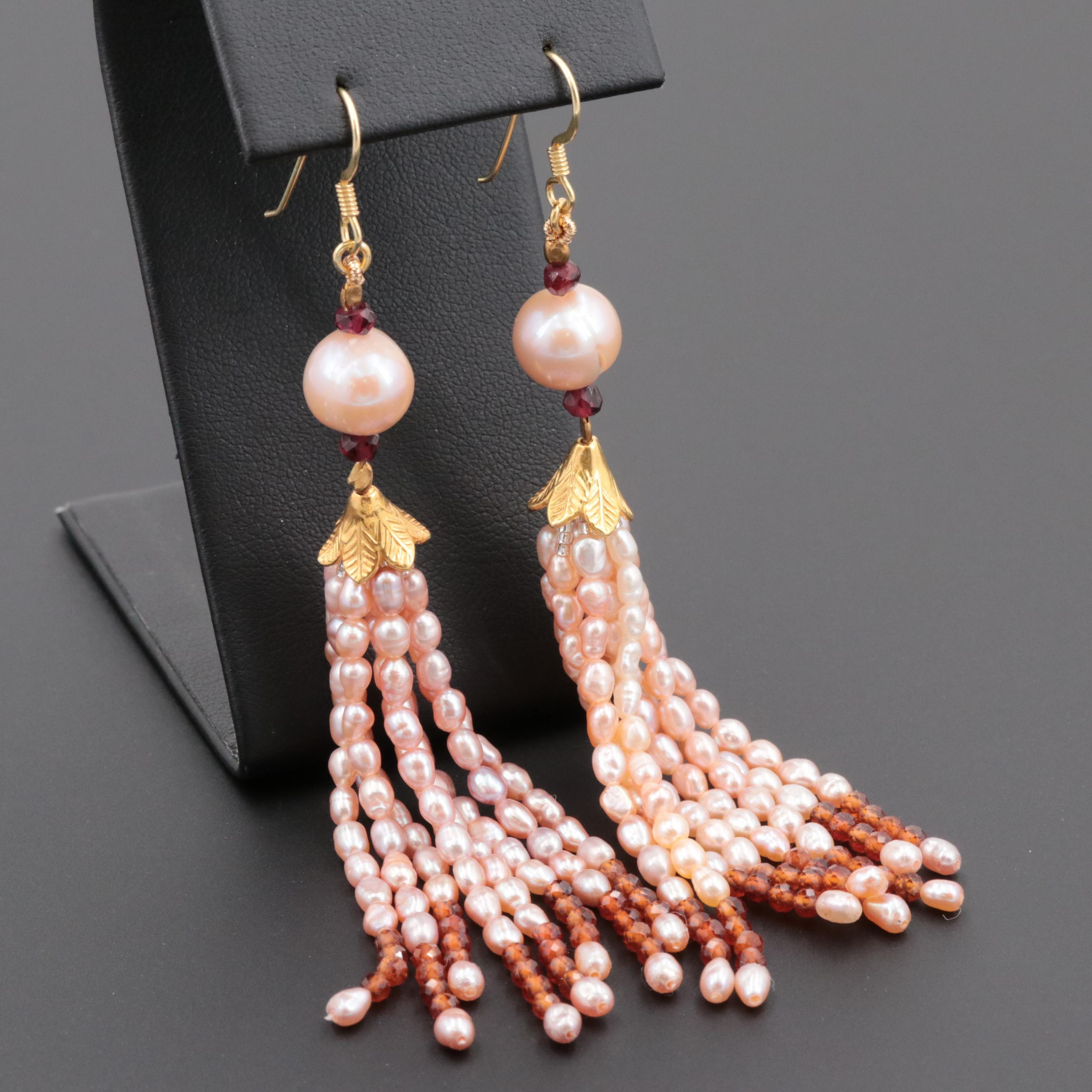 Gold Wash on Sterling Silver Cultured Pearl and Garnet Tassel Earrings
