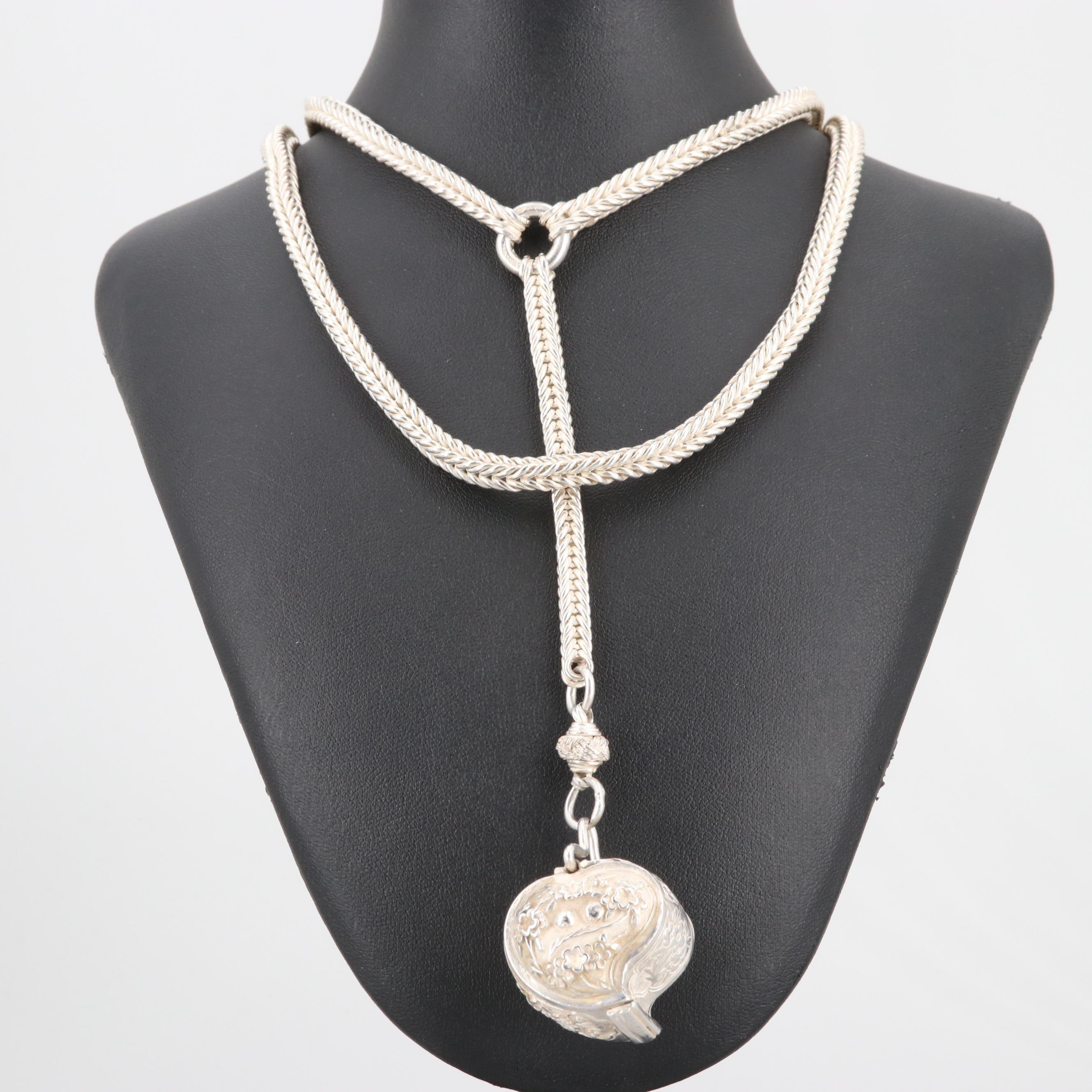 Sterling Silver Locket Pendant with Endless Necklace