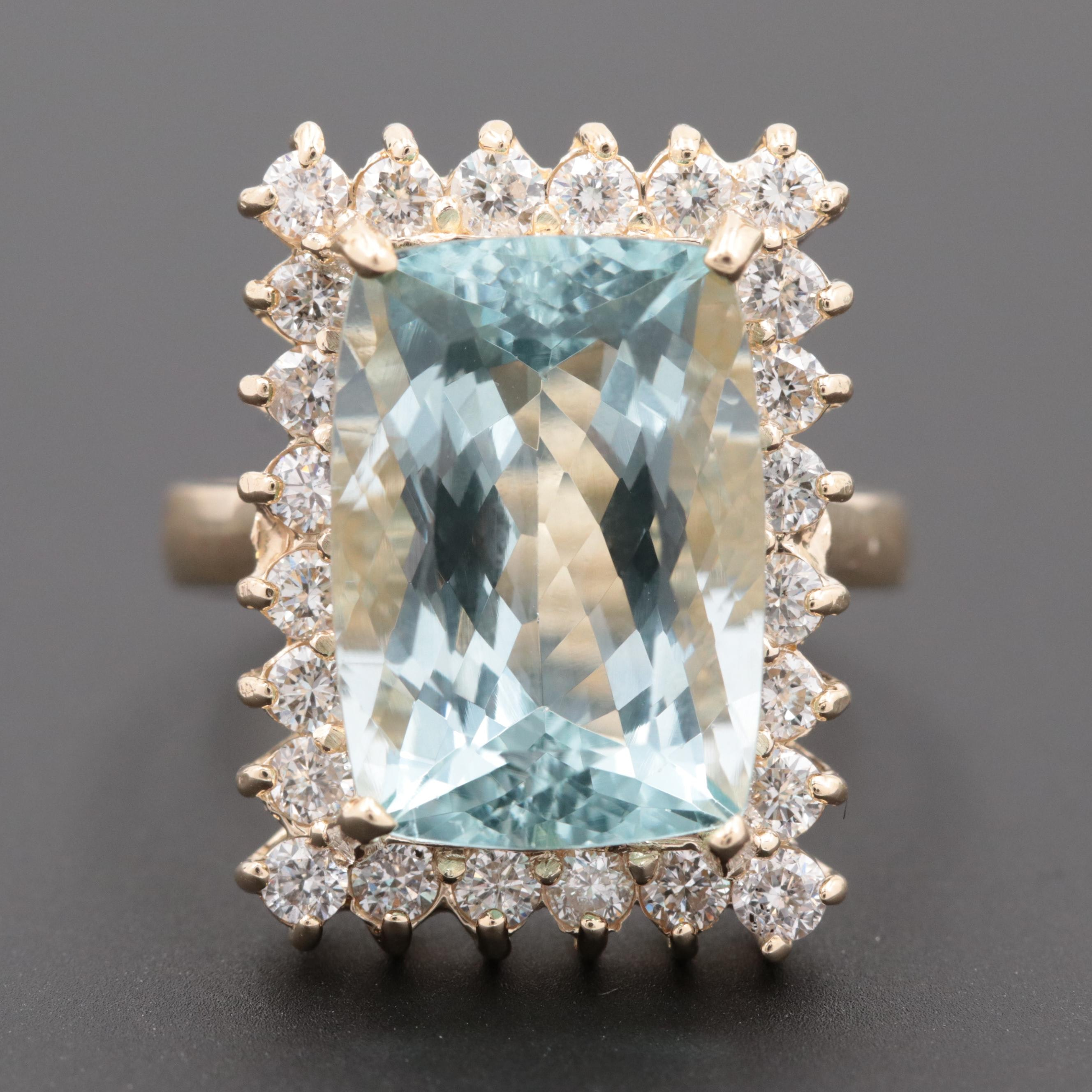 14K Yellow Gold 7.95 CT Aquamarine and Diamond Halo Ring