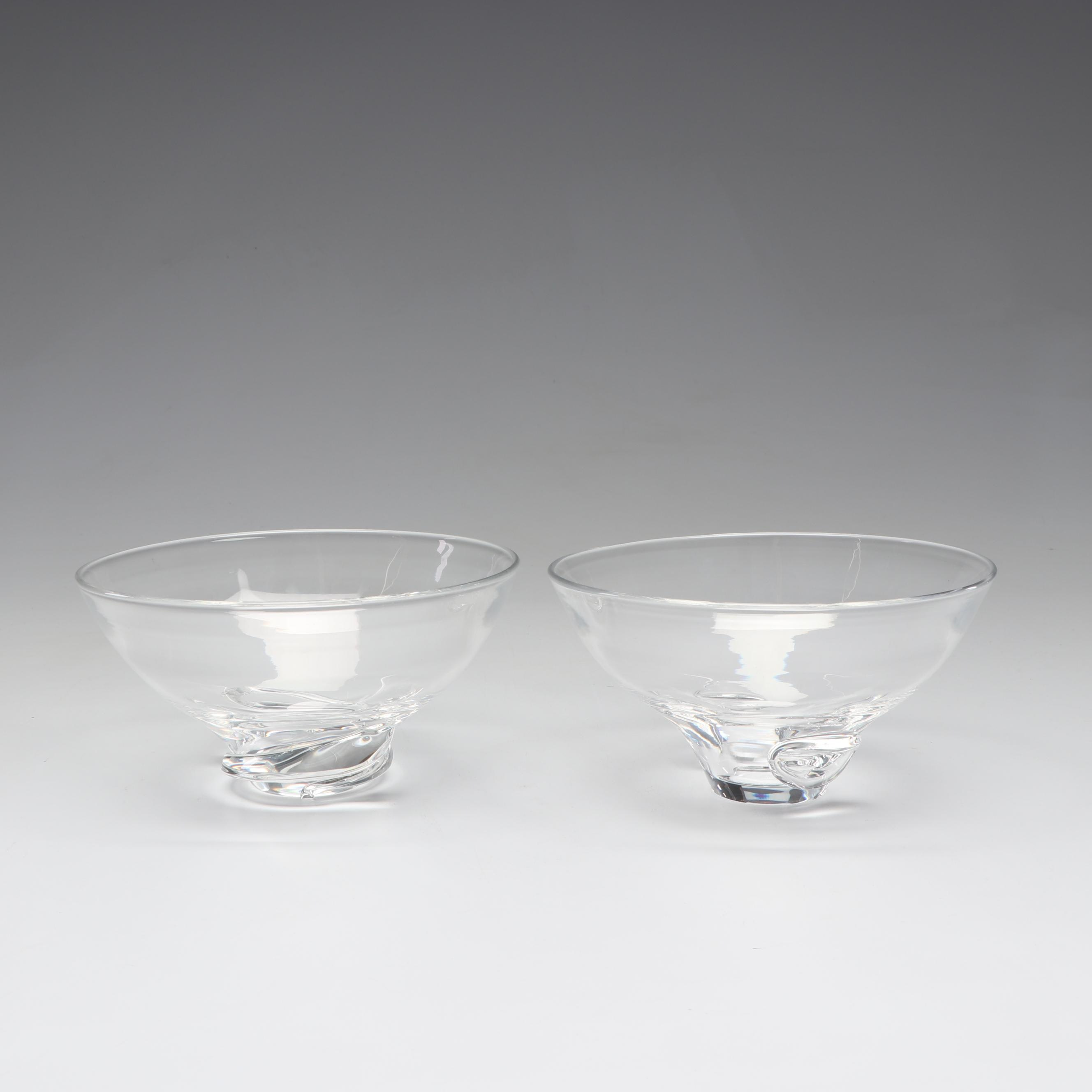 Steuben Spiral and Bouquet Crystal Bowls
