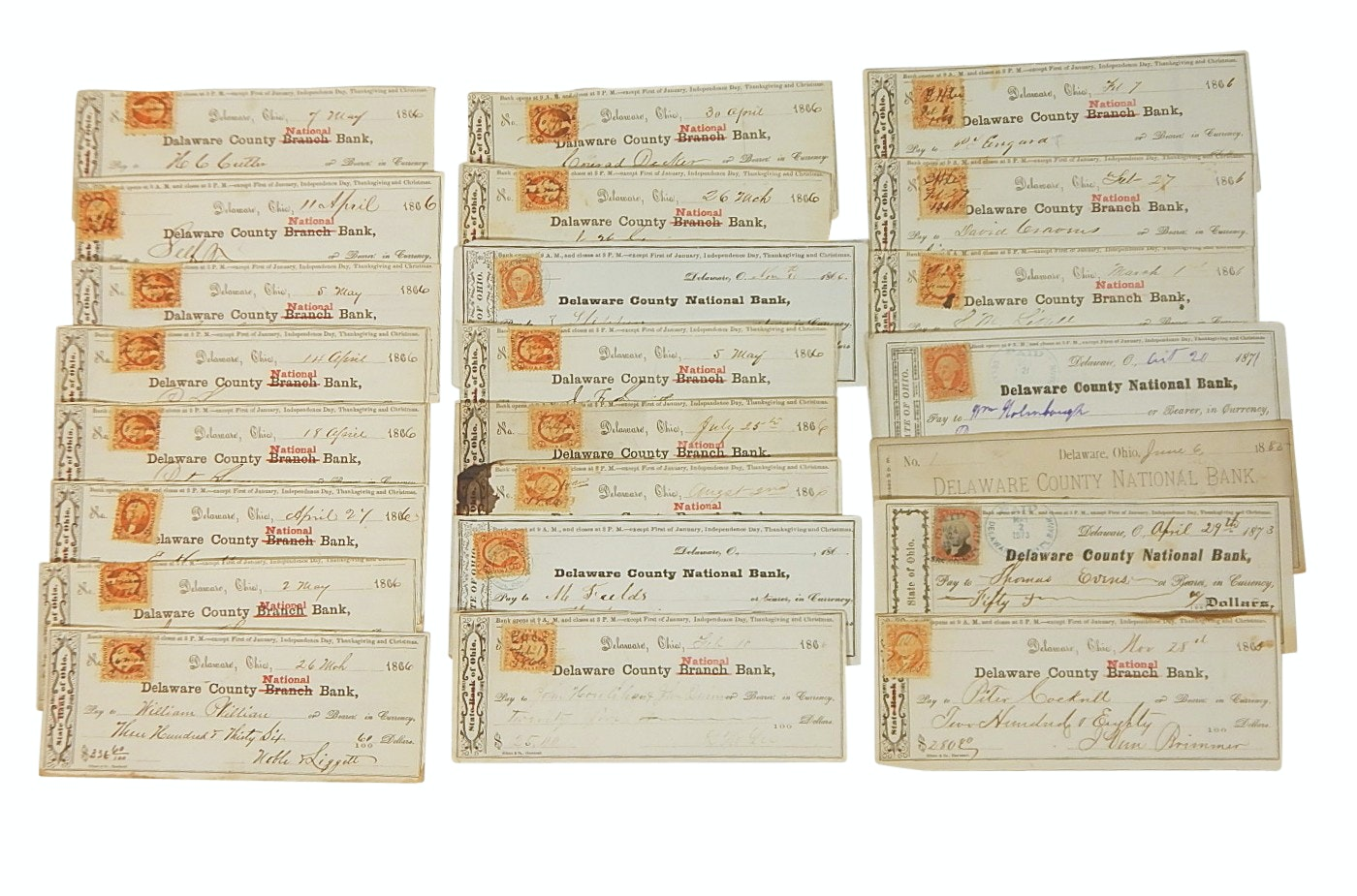Over 20 Late-1800's Post Civil War Cancelled Checks with Revenue Stamps