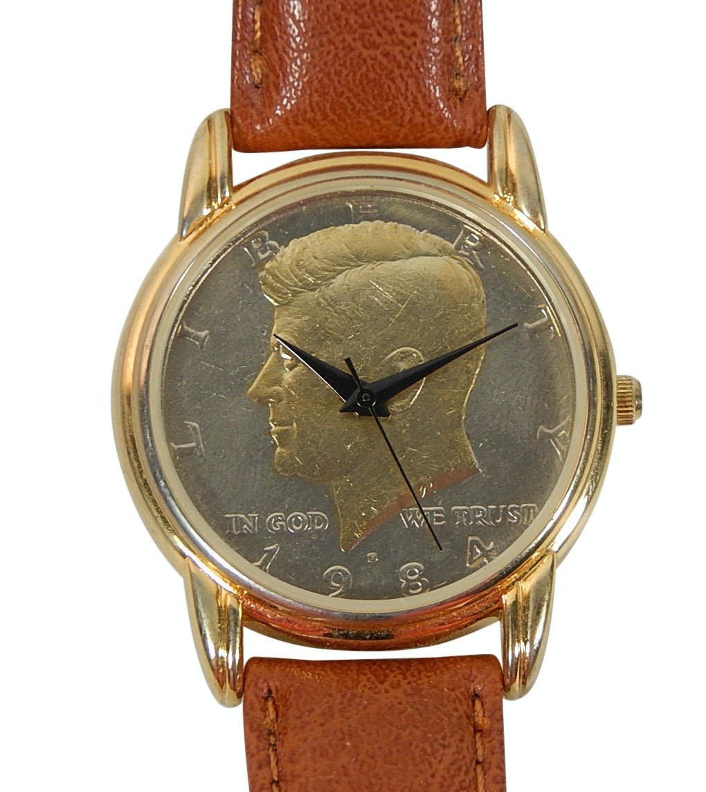 Claremont Gold-Tone John F. Kennedy Half Dollar Coin Wristwatch #26-196-12