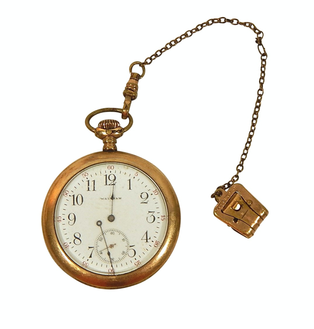 c 1912 Waltham Gold-Tone Pocket Watch and Chain Fob - Repair