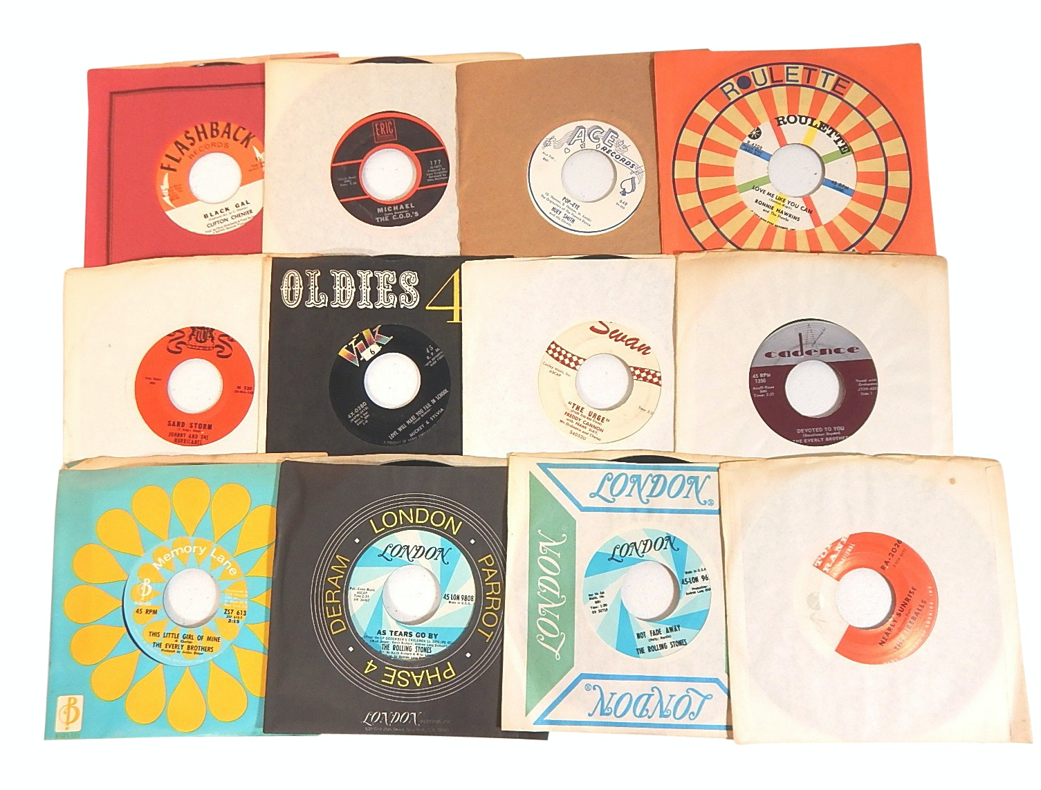 1960s and 1970s 45 RPM Records with Country, Rock, Pop, and R&B - Rolling Stones