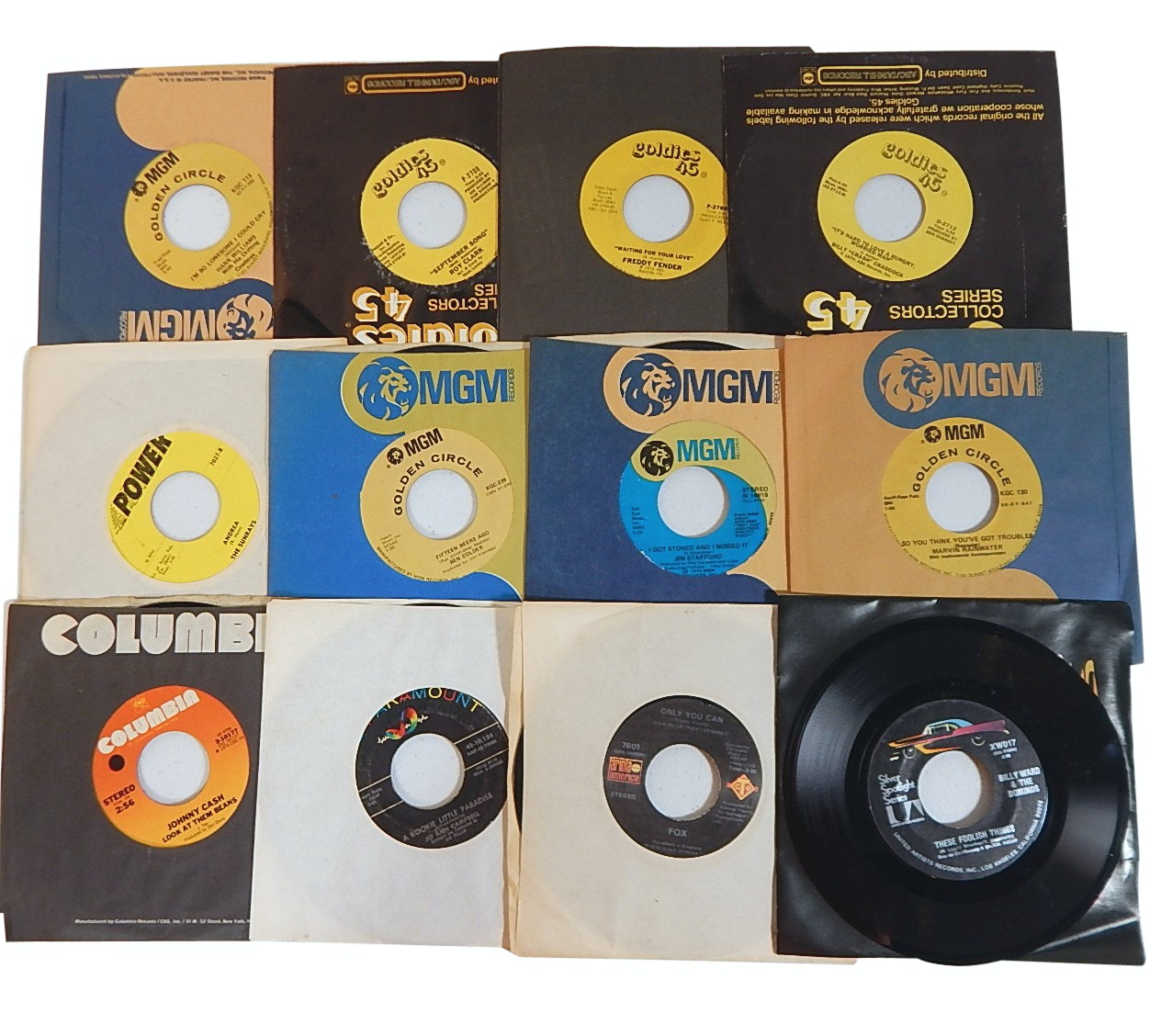 1960s and 1970s 45 RPM Records with Country, Rock, Pop, and R&B - Johnny Cash