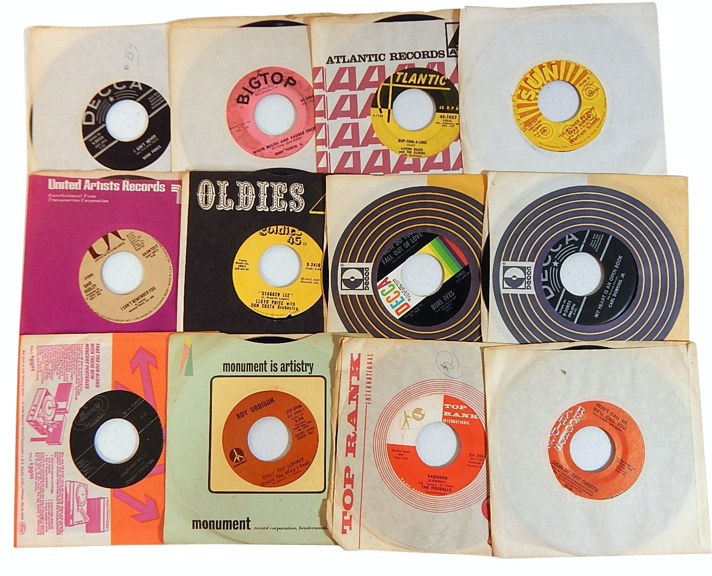 1960s and 1970s 45 RPM Records with Country, Rock, Pop, and R&B - Sun Records