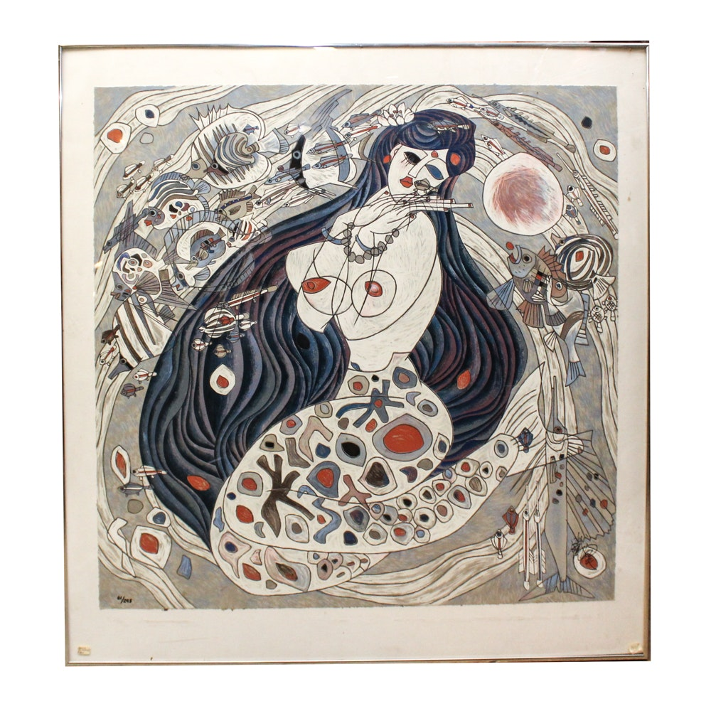 "Jiang Tie-Feng Serigraph ""White Mermaid"""
