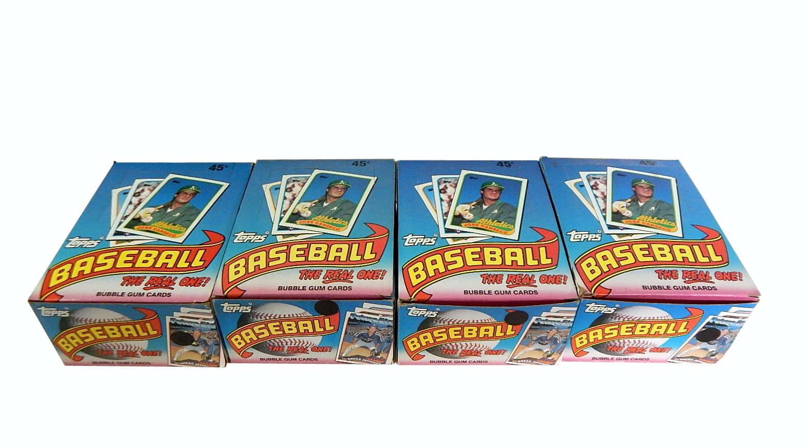 Four Unopened 1989 Topps Wax Pack Boxes of Baseball Cards