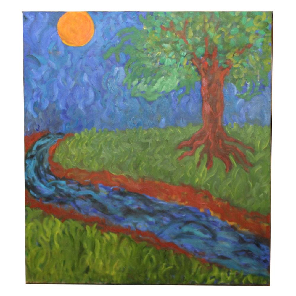 Oil Painting of Tree Scene