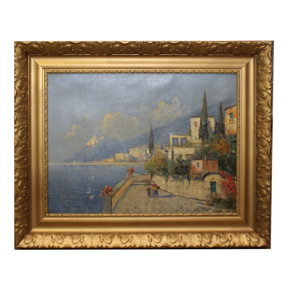 A.S. Teriso Oil Painting of Costal Scene