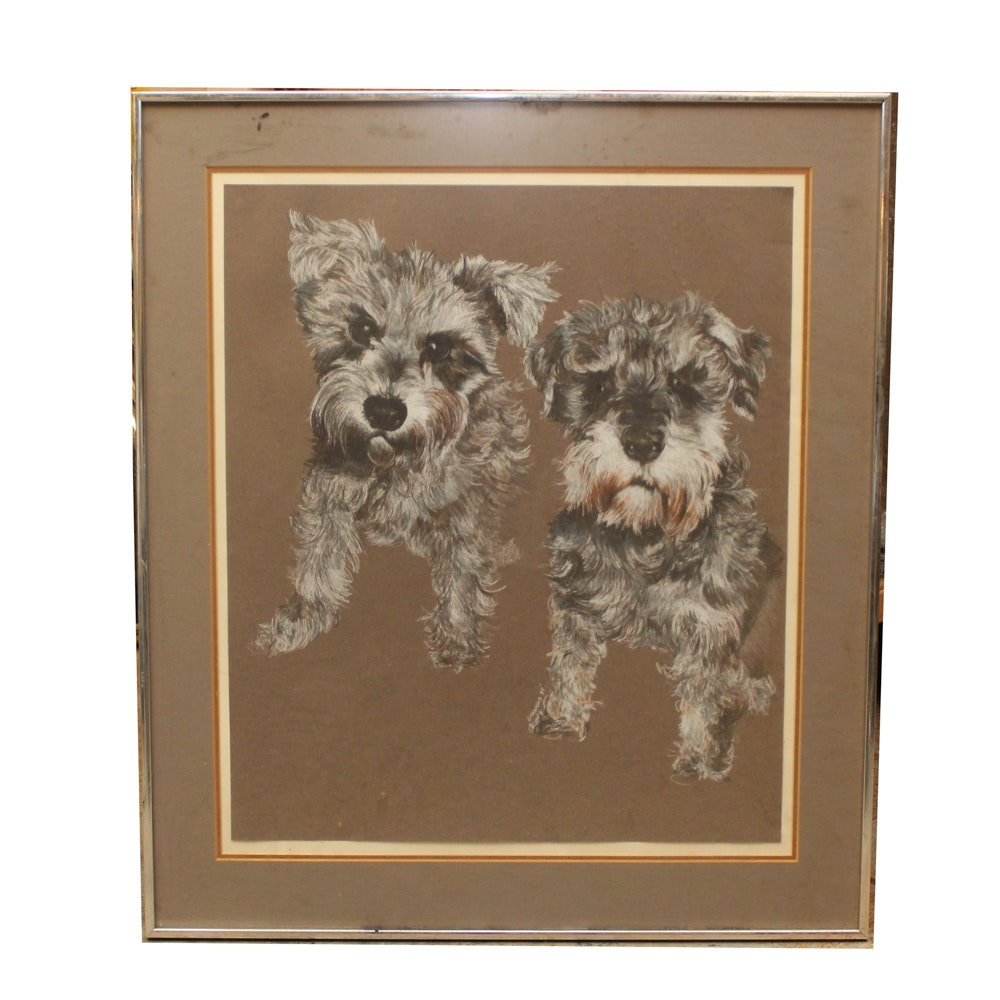 Laurie Maurine Pastel Drawing of Dogs