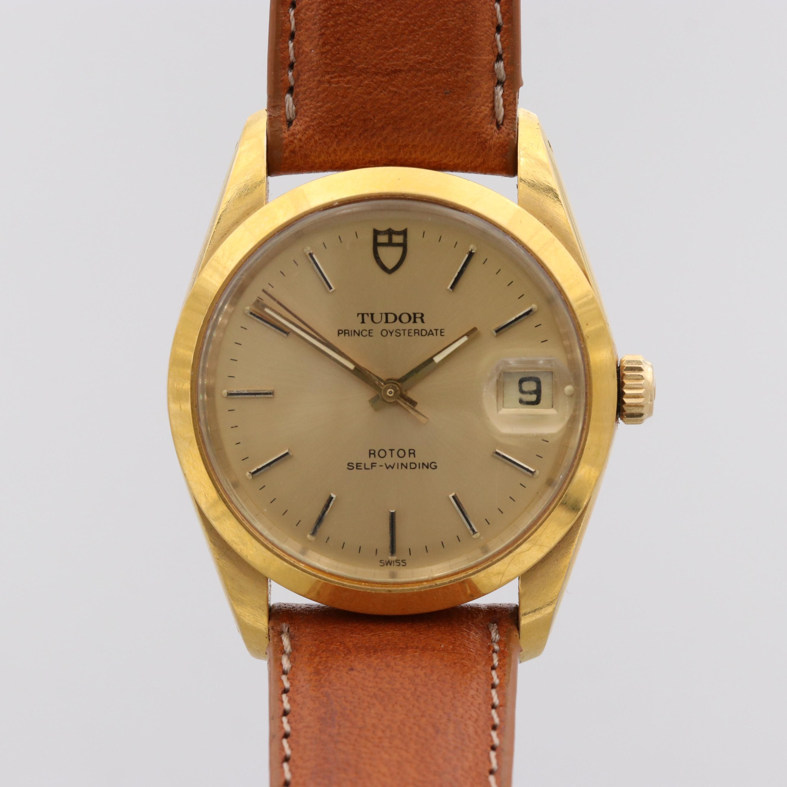 Tudor Prince Oyster Date Gold Tone Stainless Steel Automatic Wristwatch