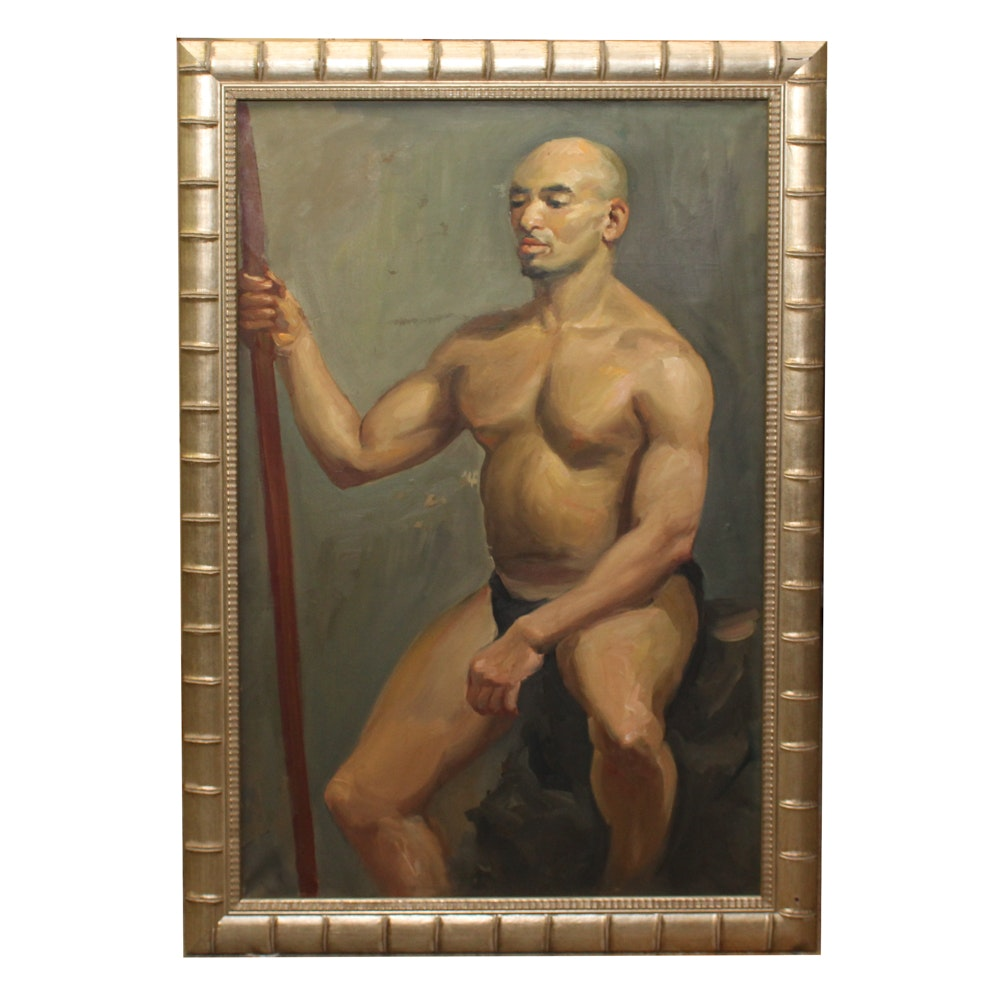 Chuck F. Wong Oil Painting of Male Nude
