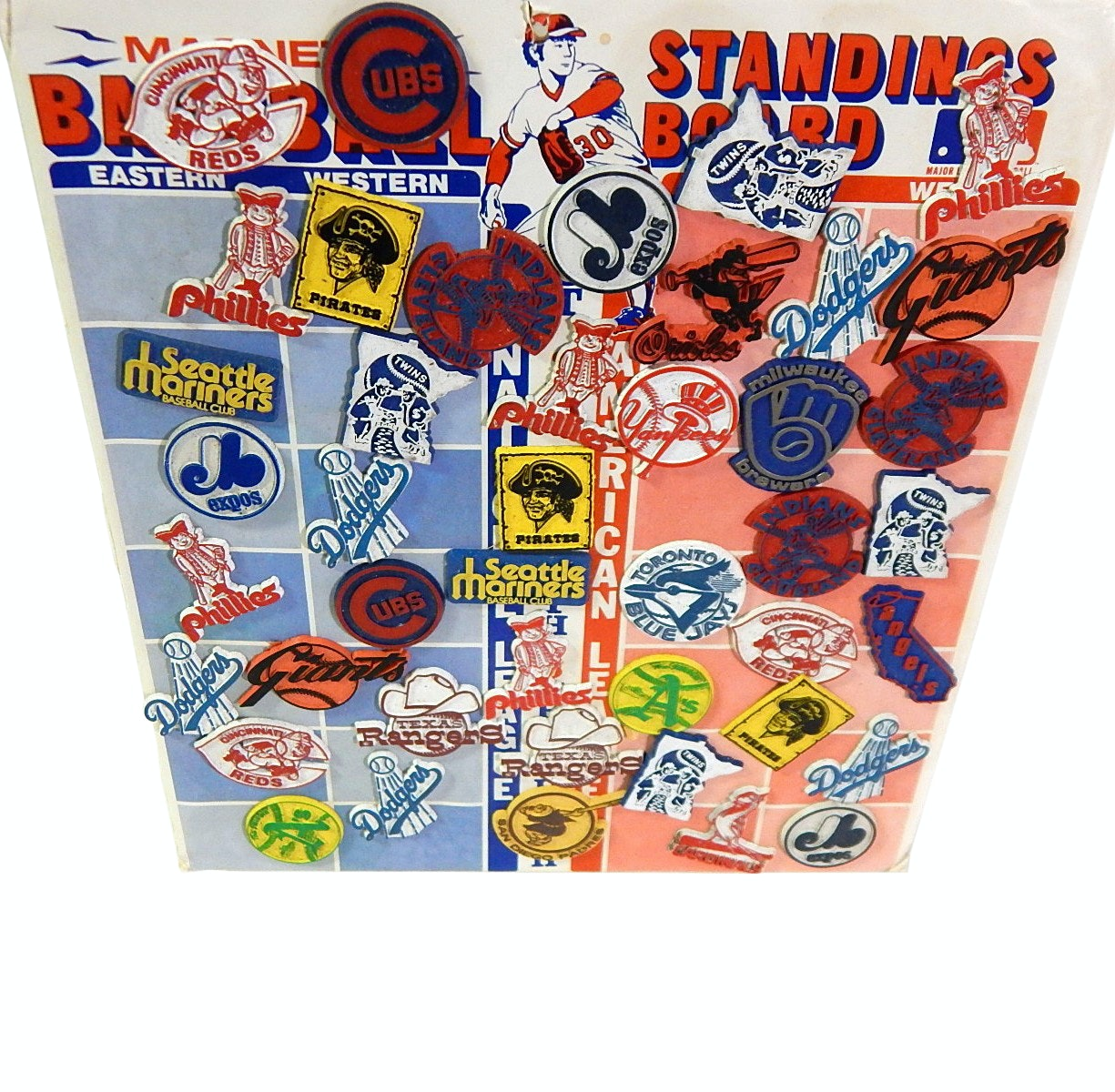 Vintage Magnetic Baseball Standings Board with Team Magnets