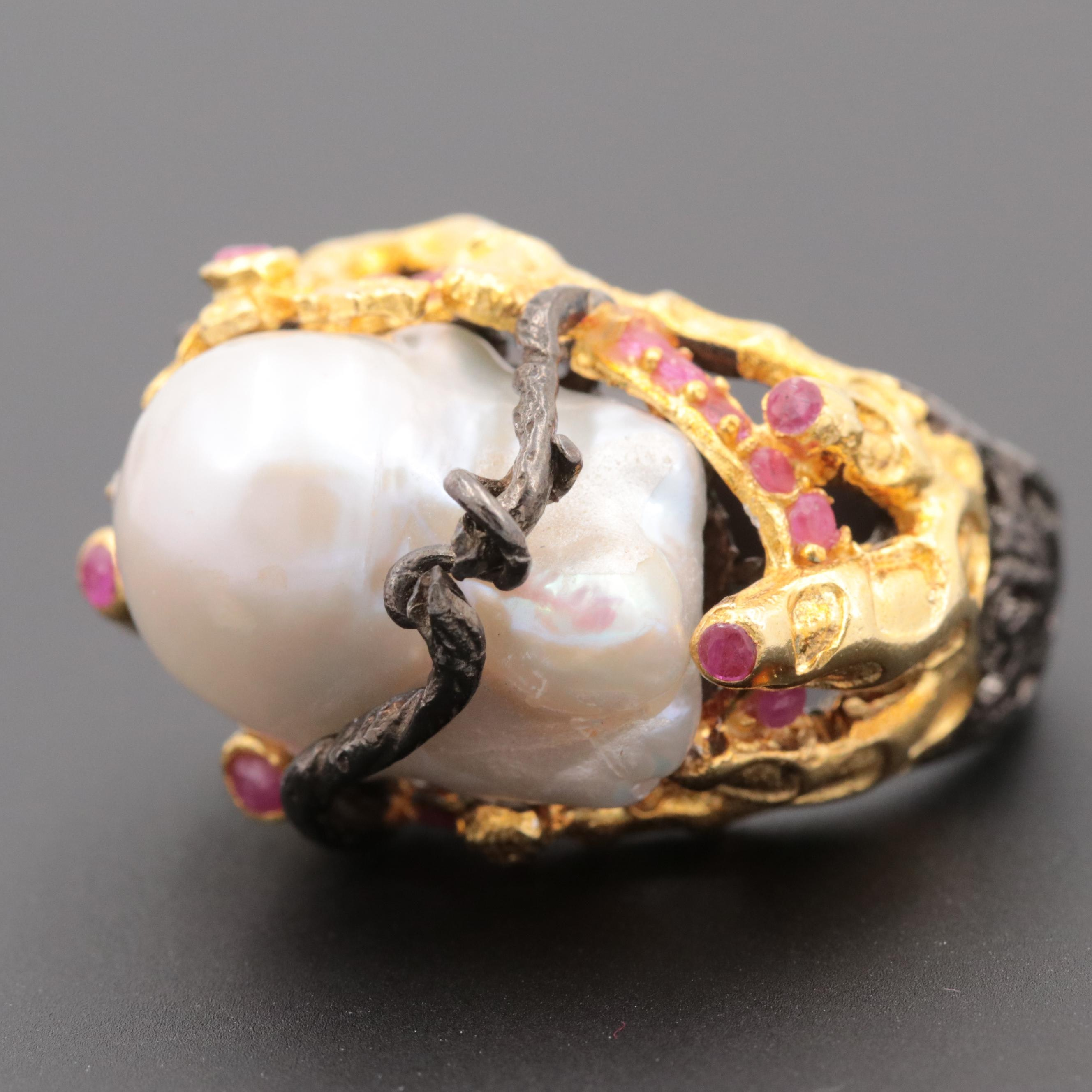 Oxidized Sterling Silver Cultured Pearl and Ruby Ring with Gold Wash Accents