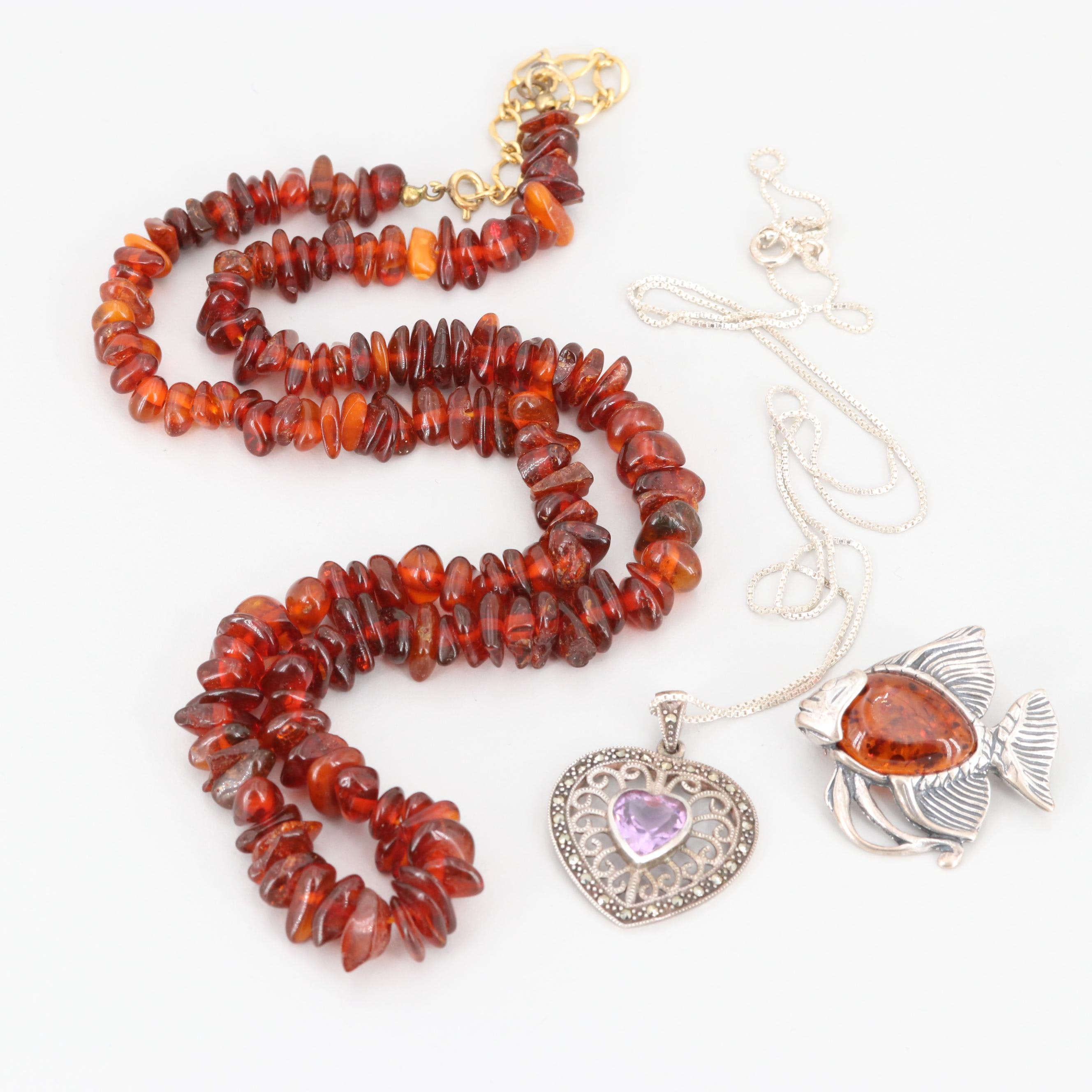 Sterling Silver Amber and Amethyst Necklace with Gold Tone Amber Brooch