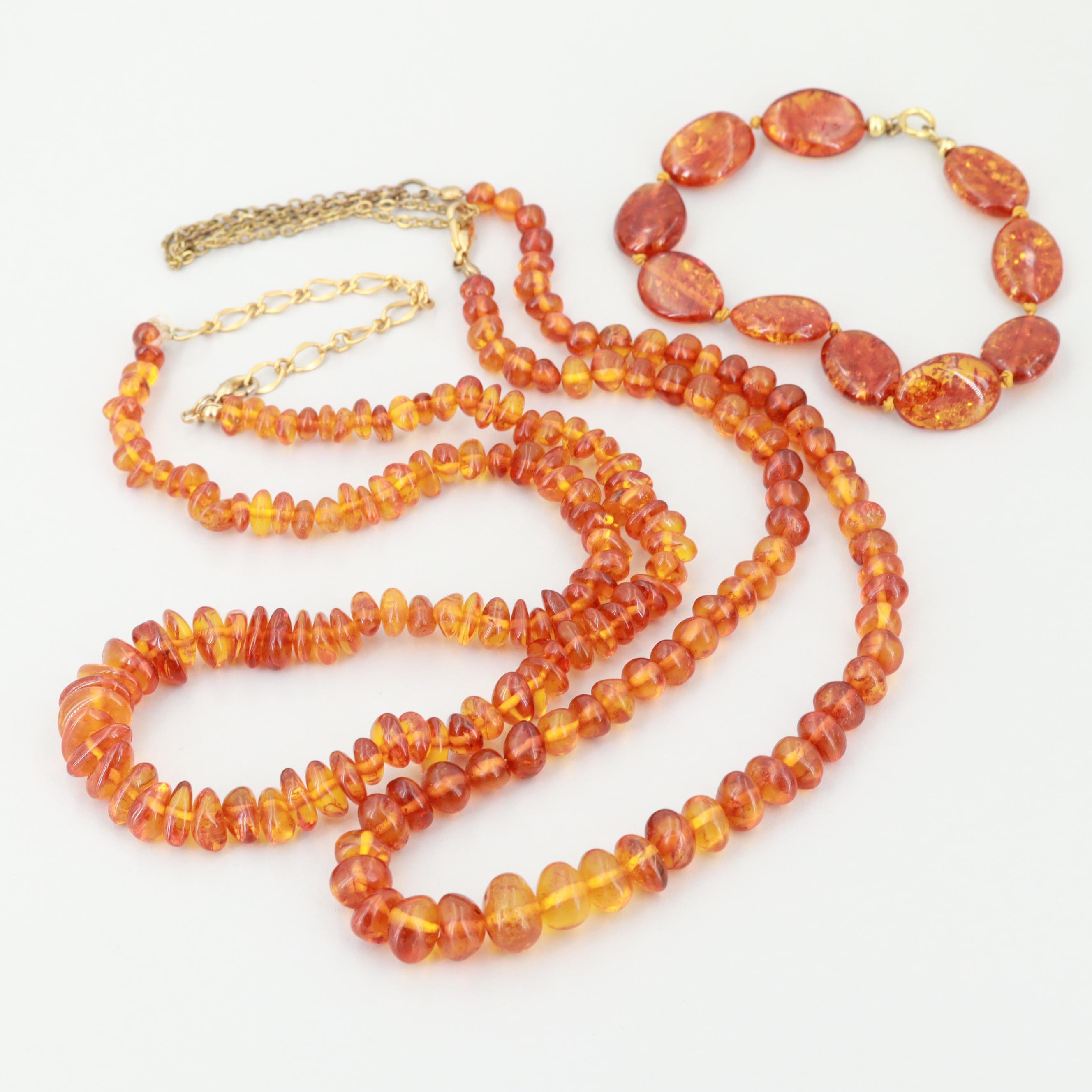 Gold Tone Amber Necklaces and Bracelet