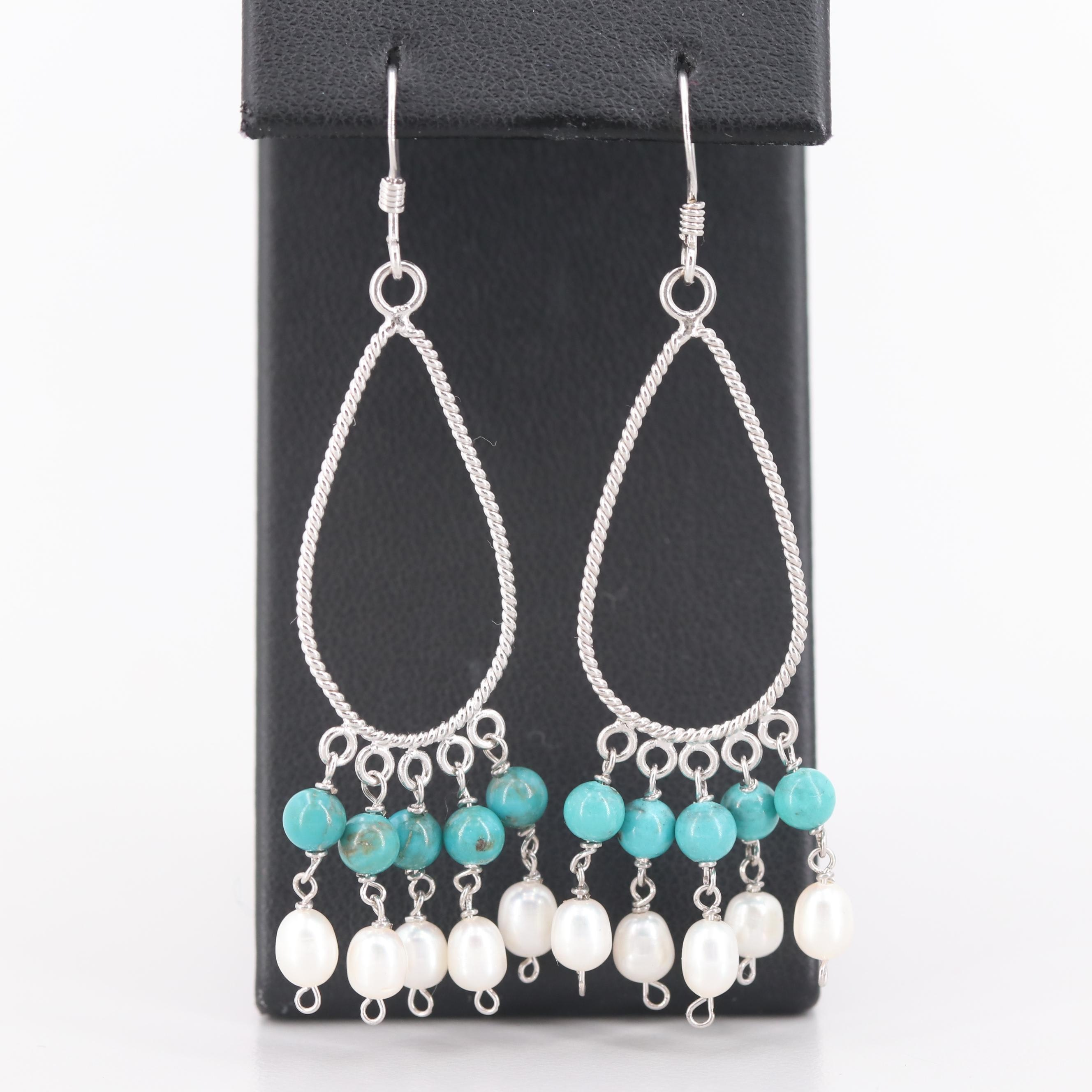 Sterling Silver Cultured Pearl and Turquoise Earrings