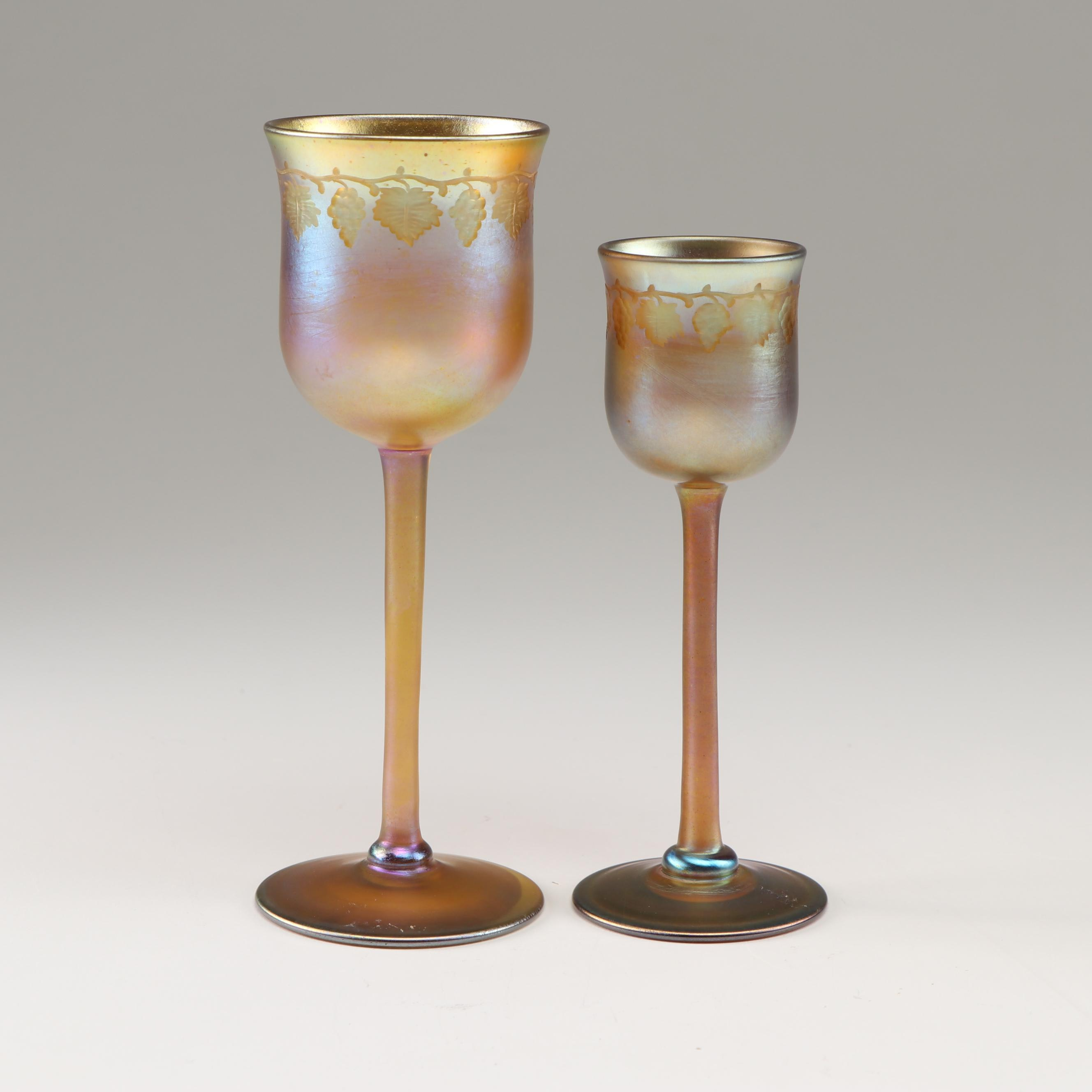 L.C. Tiffany Gold Favrille Wheel Cut Grapes Leaves Stemmed Cordial Glasses