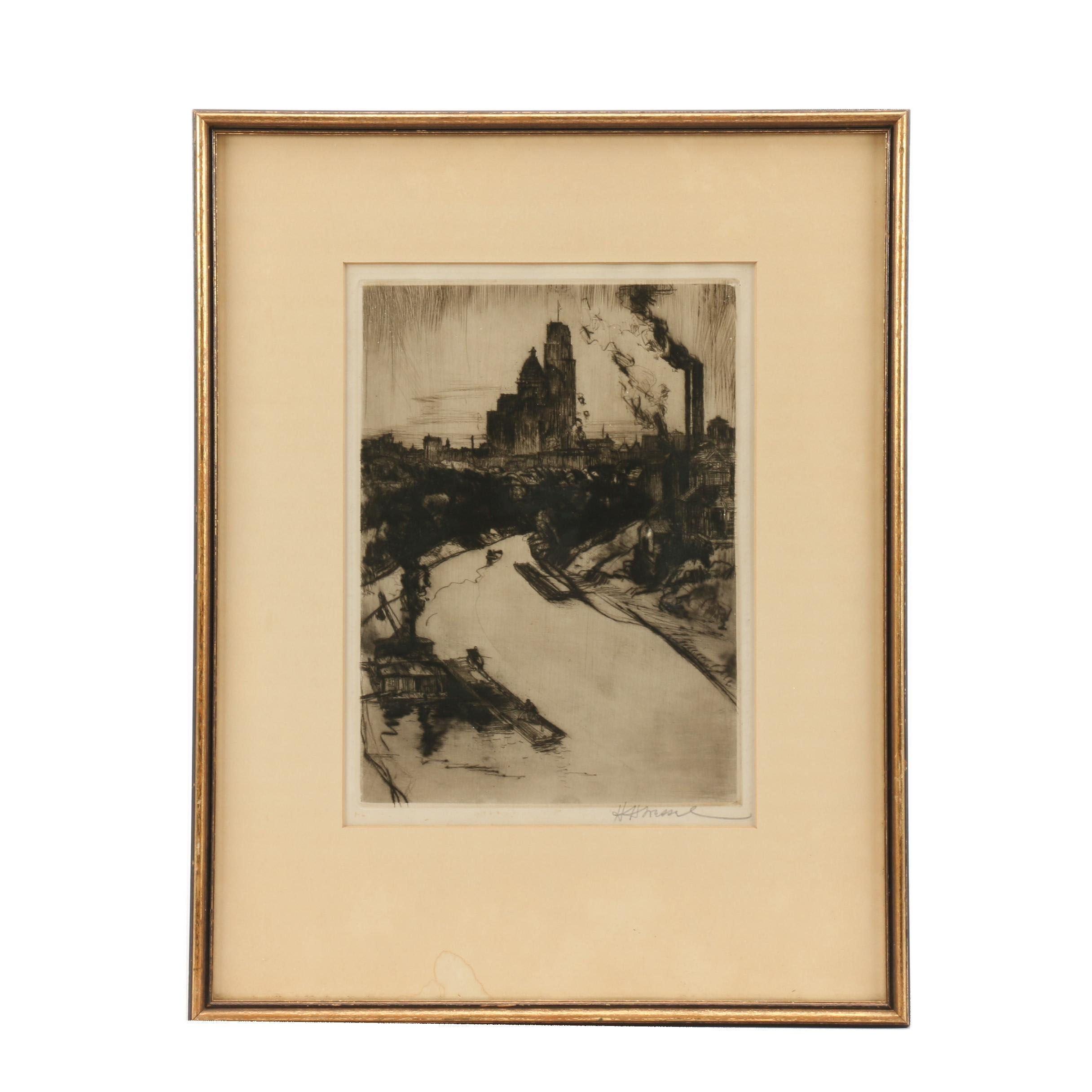 Herman Henry Wessel Drypoint Etching of Cincinnati River Scene