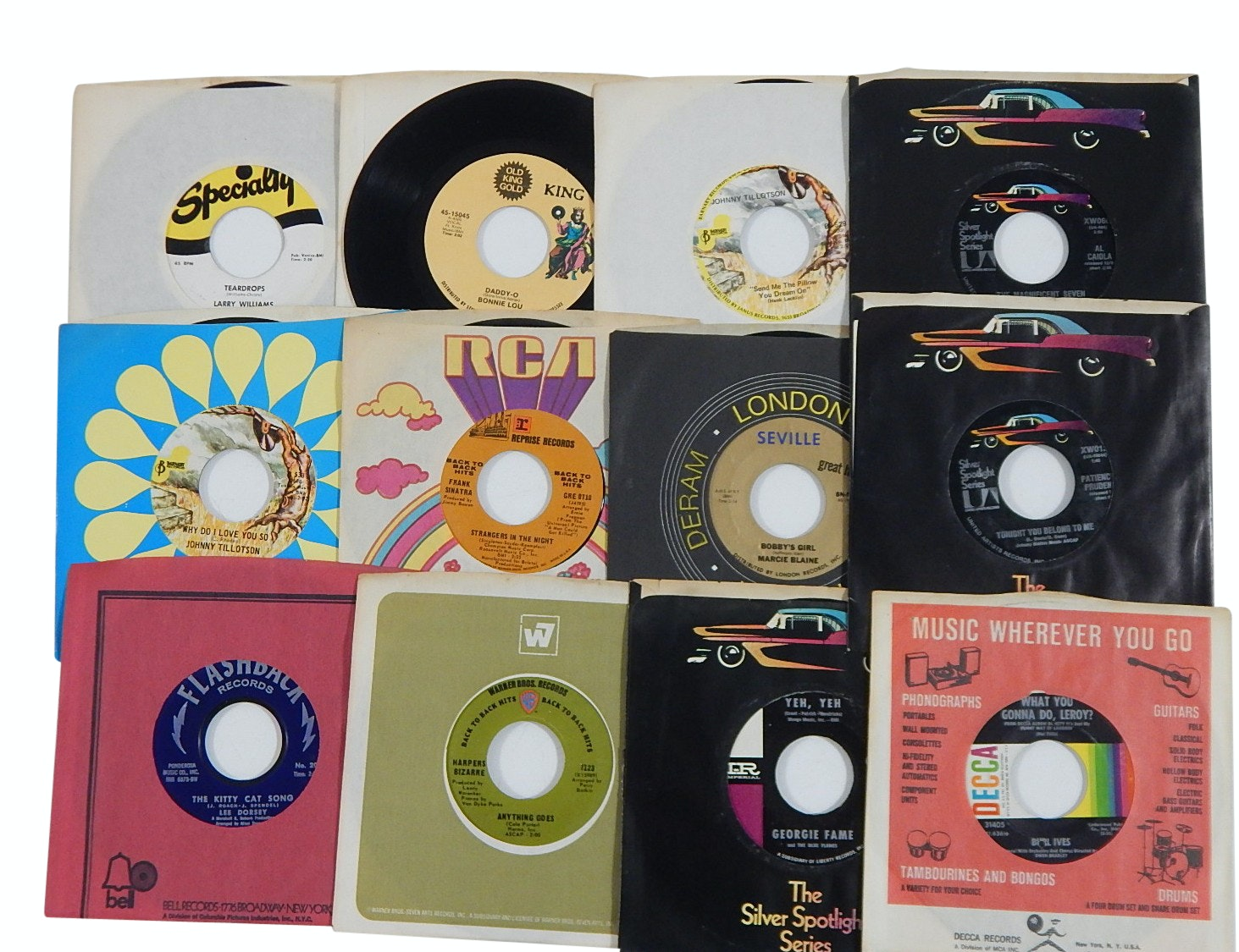 1960s and 1970s 45 RPM Records with Country, Rock, Pop, and R&B - King Records