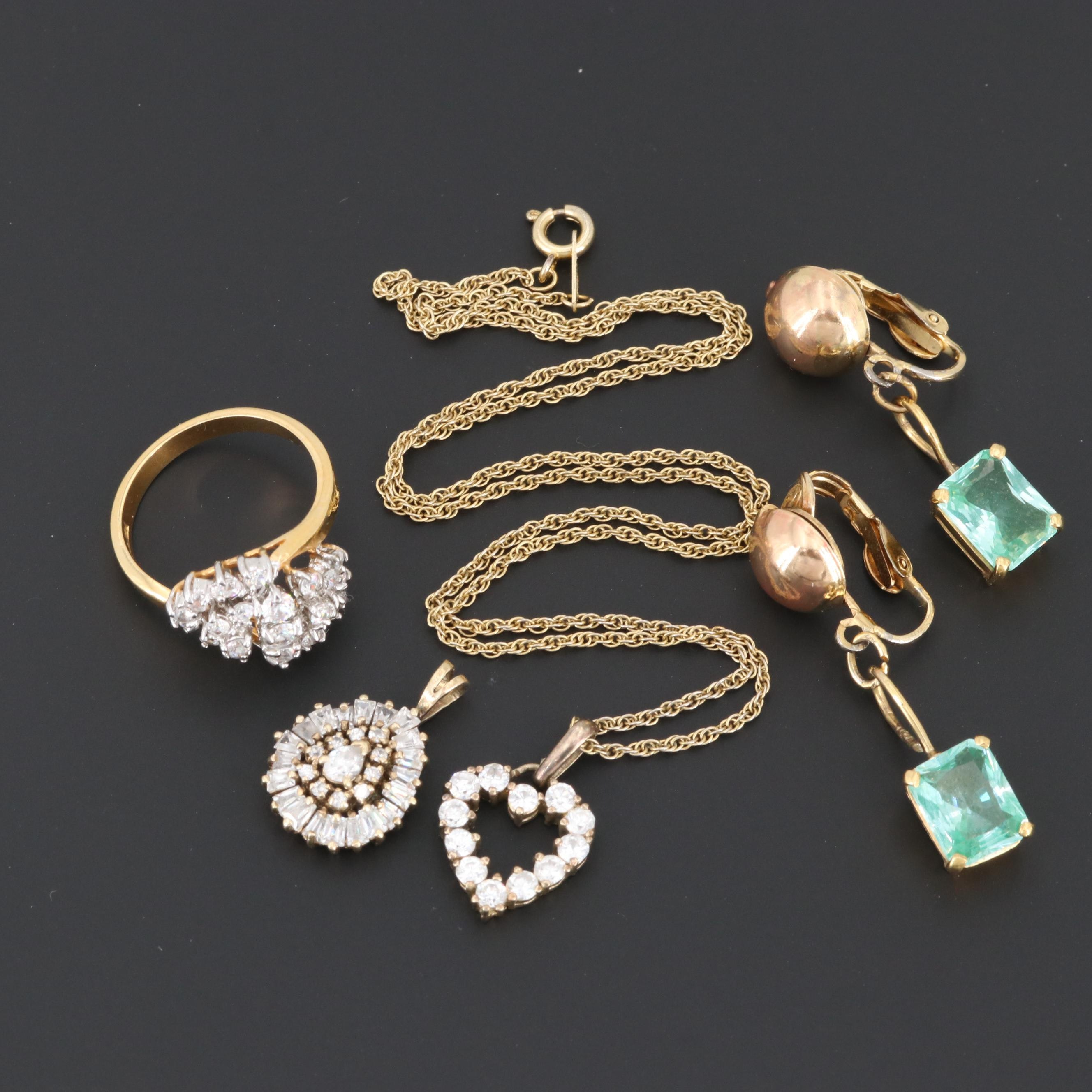 Gold Wash on Sterling Silver Cubic Zirconia and Topaz Assorted Jewelry
