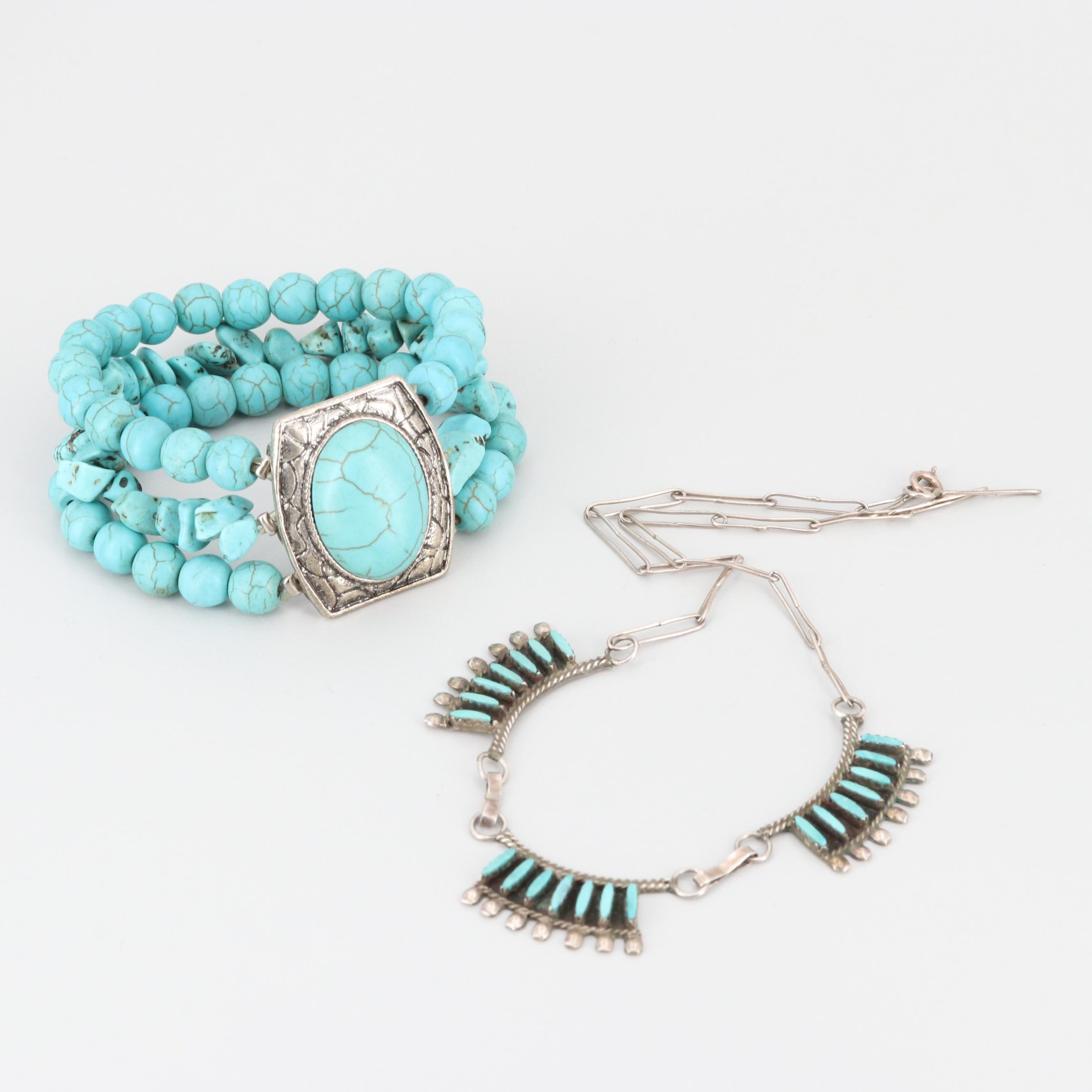 Sterling Silver Imitation Turquoise Necklace and Silver Tone Bracelet