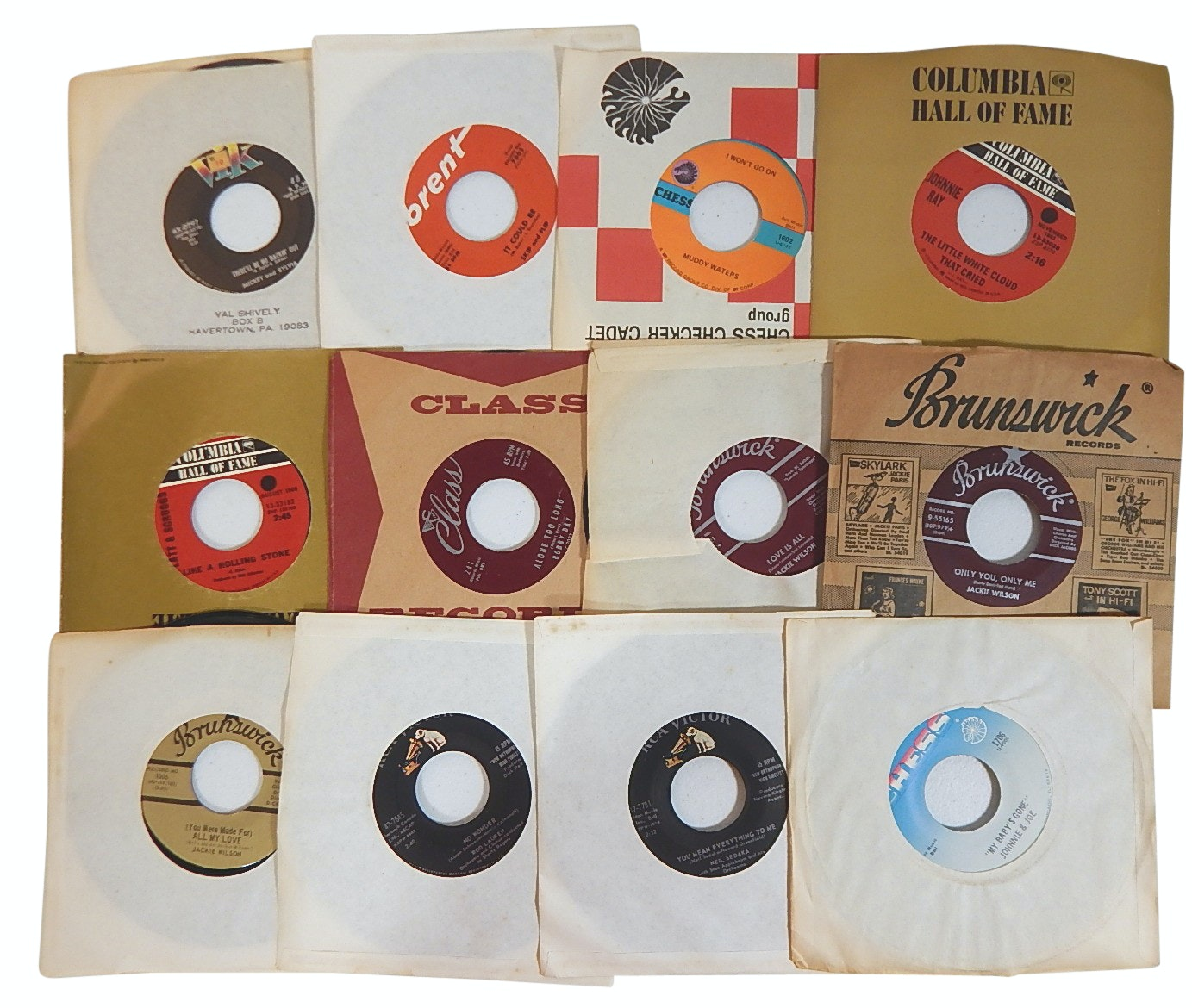 Collection of 1960s and 1970s 45 RPM Records with Country, Rock, Pop, and R&B