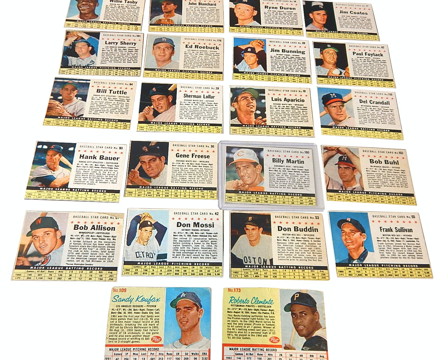 1961 and 1962 Post Baseball Card Lot with Koufax, Clemente, Aparicio