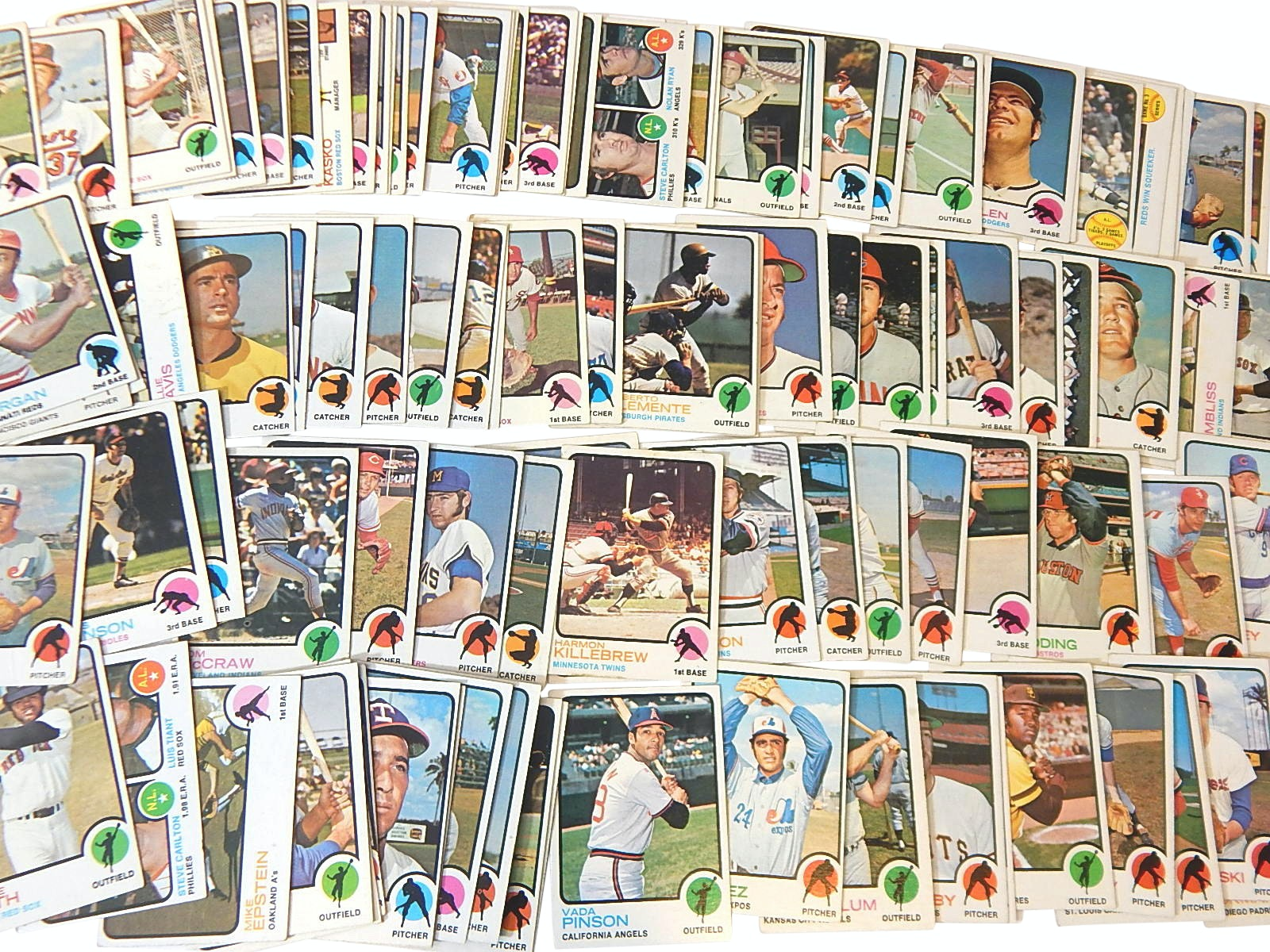 1973 Topps Baseball Cards with Clemente, Morgan, Killebrew, Pinson