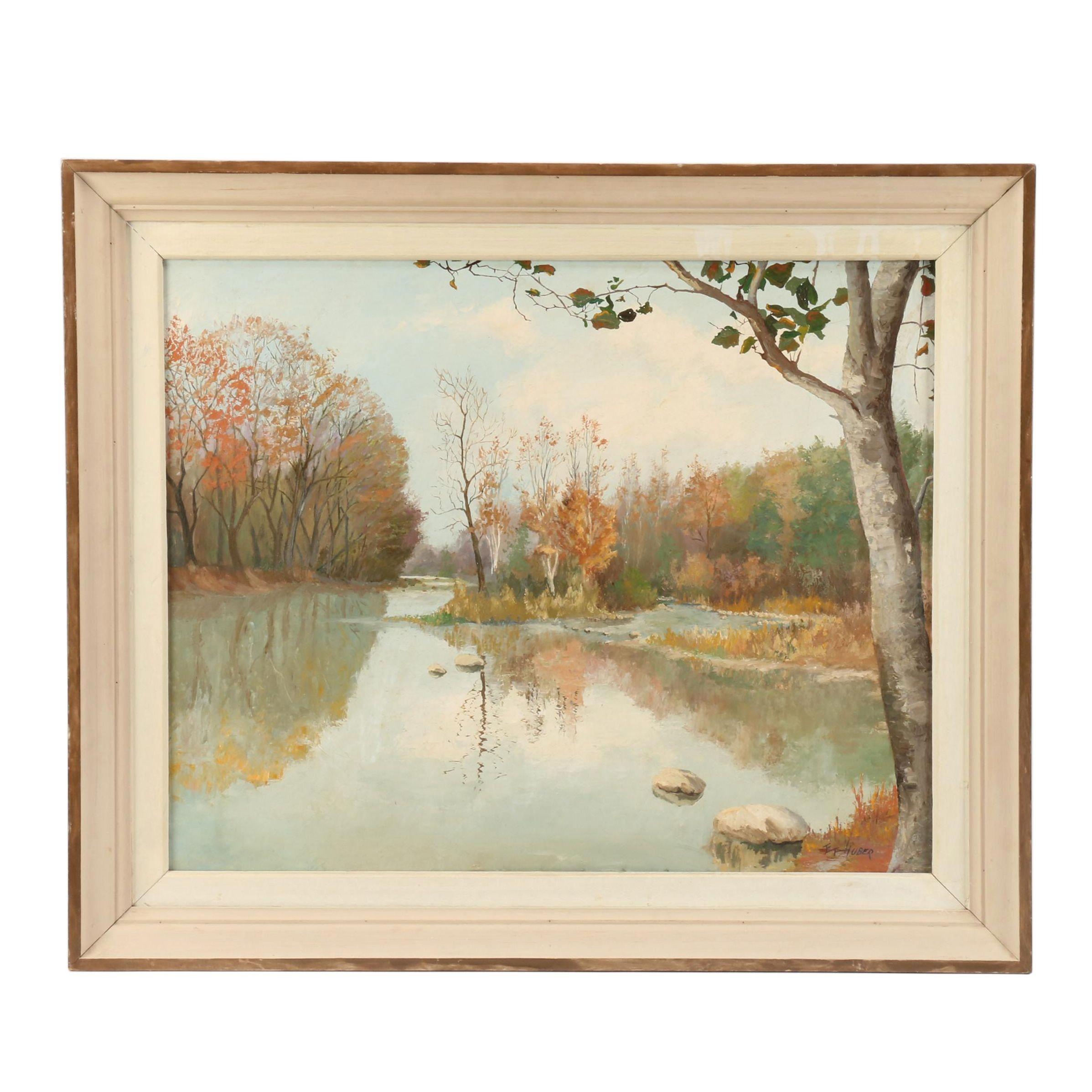 E.F. Huber Landscape Oil Painting