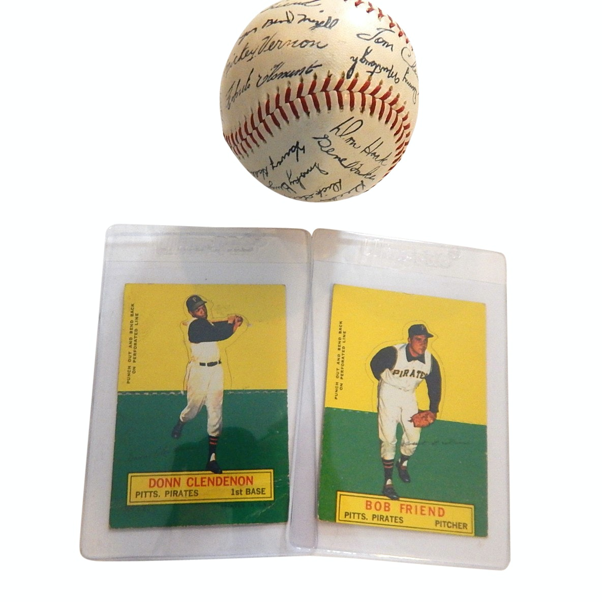 1950s/60s Era Pittsburgh Pirates Facsimile Baseball and Two 1964 Stand-Up Cards