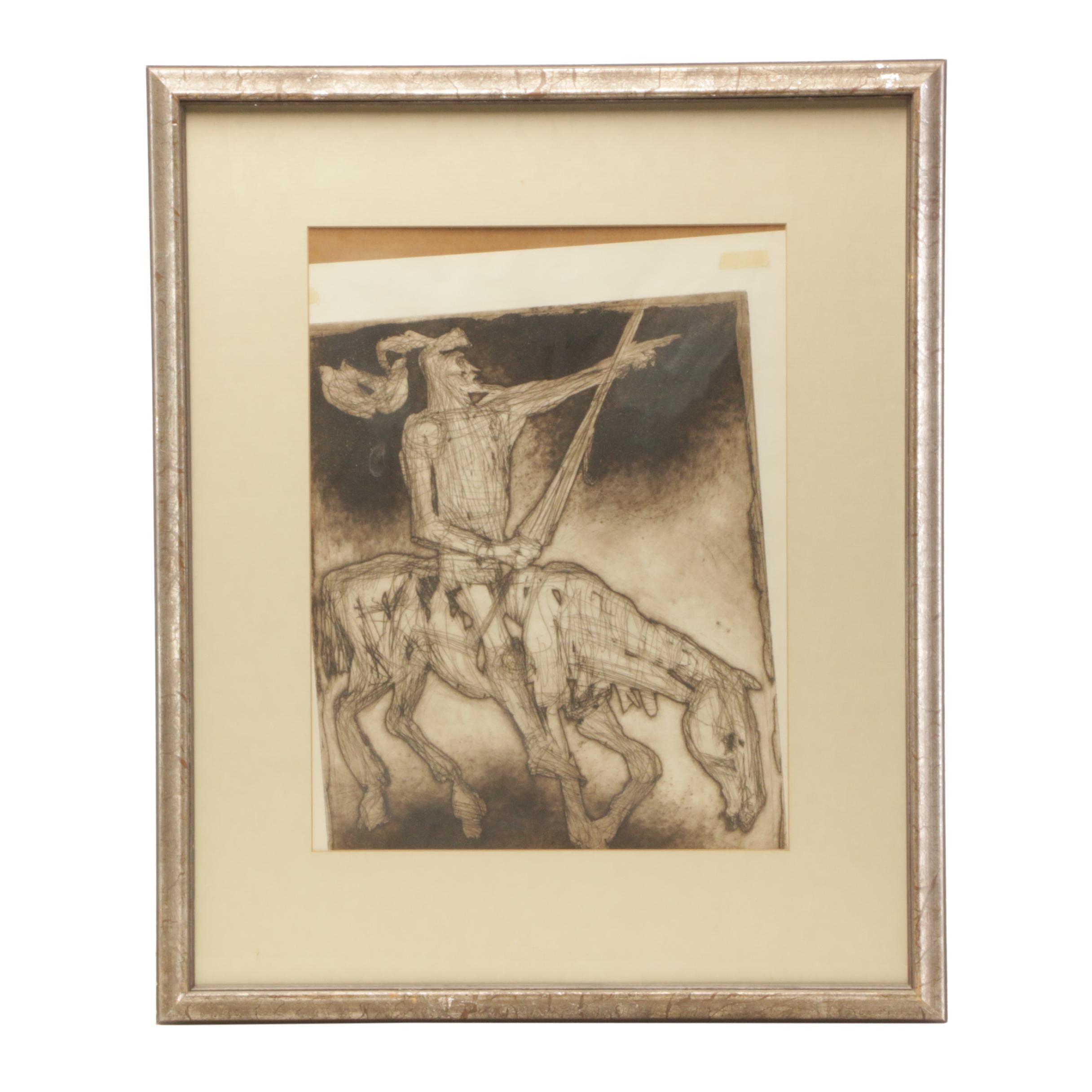 "Irving Amen Mid-Century Etching with Aquatint ""Don Quixote"""