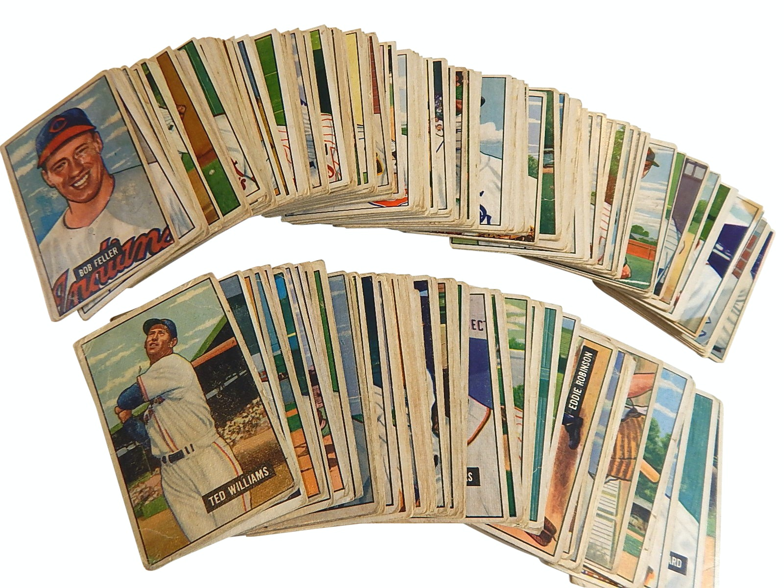 1951 Bowman Baseball Card Partial Set with Ted Williams, Nellie Fox, Bob Feller