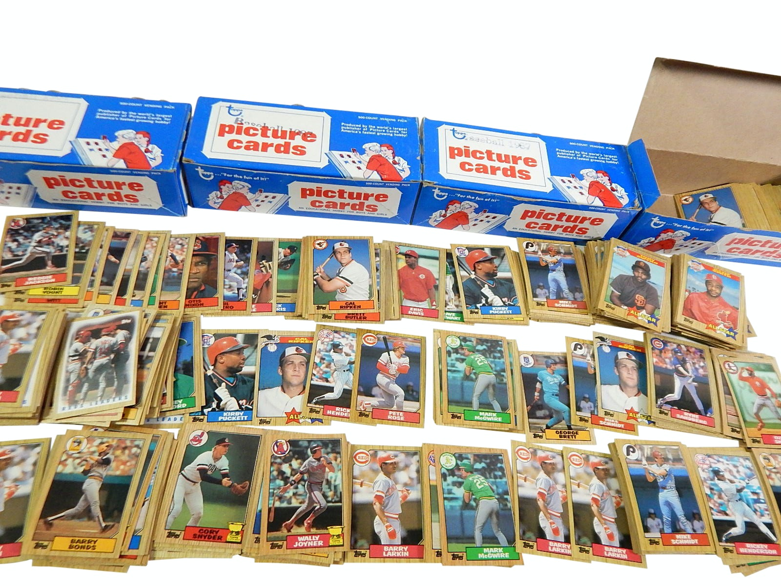 Four 1987 Topps Baseball Vending Boxes with Rookies and Stars