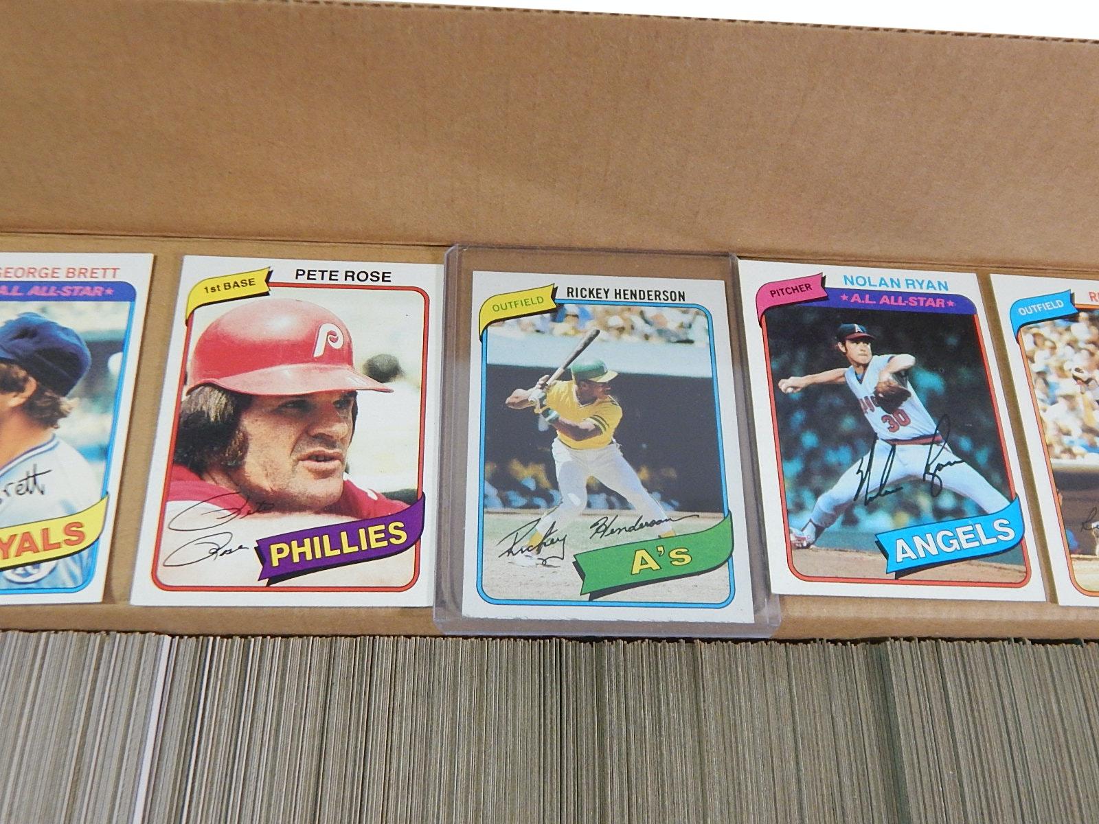 1980 Complete Topps Baseball Card Set with Henderson Rookie, Brett, Rose, More