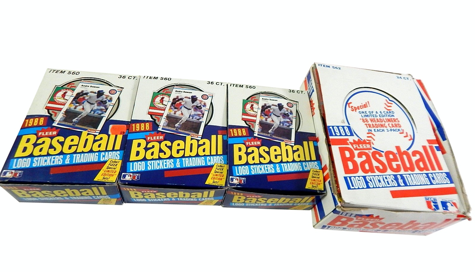 Three Boxes of Unopened 1988 Fleer Wax Packs and One Box of Unopened 1988 Trios
