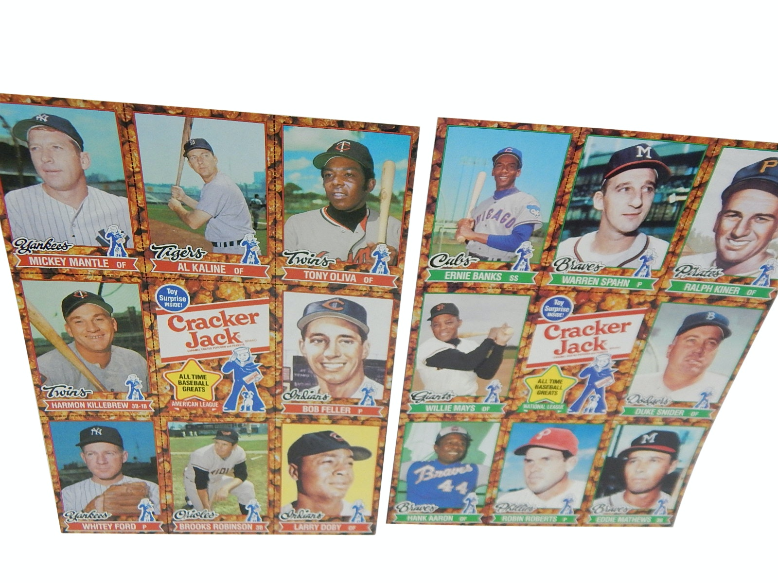 Two 1982 Uncut Cracker Jack Baseball Card Sheets with Mantle, Mays, Spahn, Banks