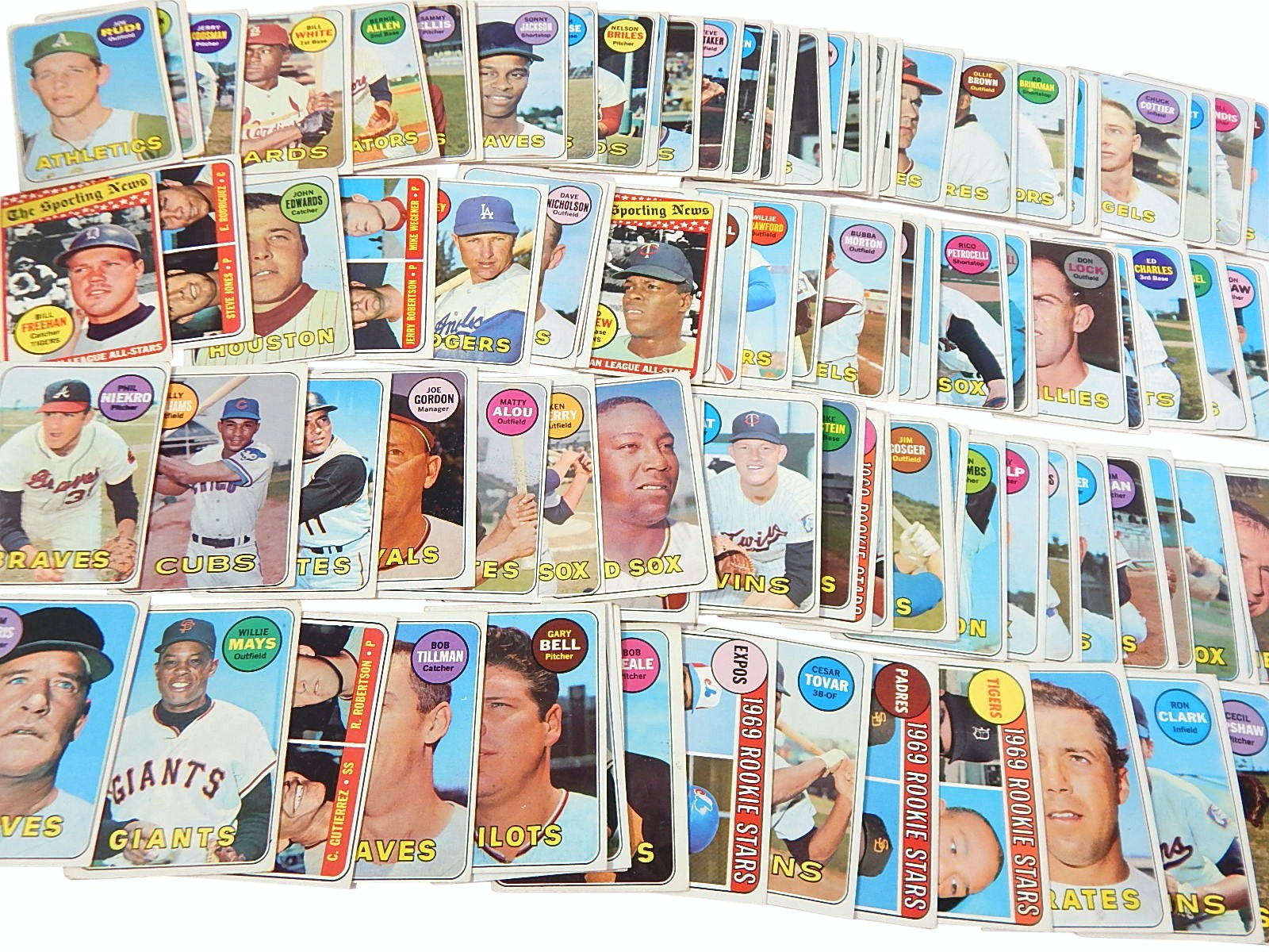 1969 Topps Baseball Cards with Rookies, Stars, HOFs